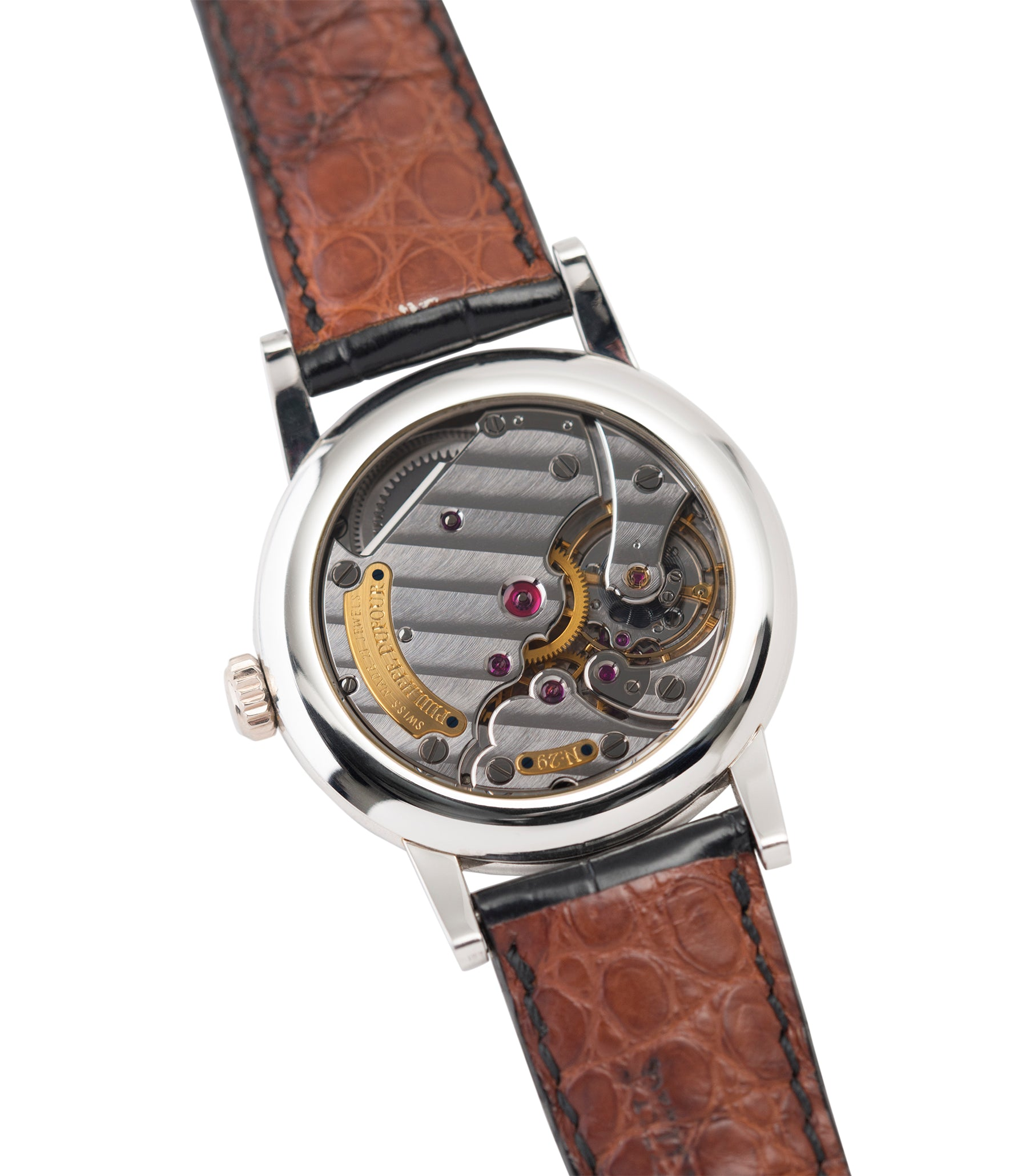 hand-finished movement Philippe Dufour Simplicity platinum time-only dress watch for sale online at A Collected Man London UK approved specialist of preowned independent watchmakers