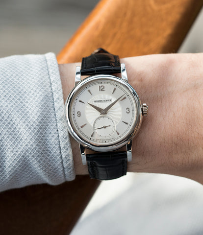 on the wrist early Philippe Dufour Simplicity platinum time-only dress watch for sale online at A Collected Man London UK approved specialist of preowned independent watchmakers