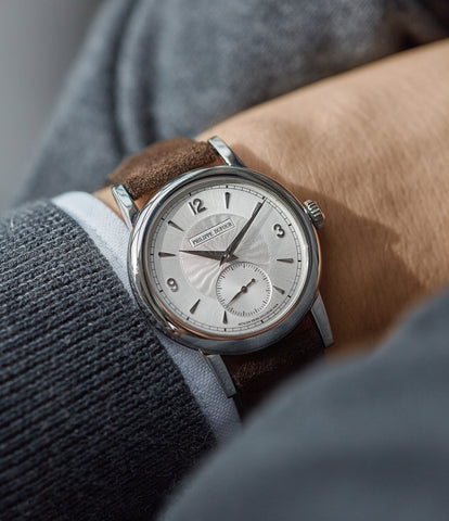 on the wrist Philippe Dufour Simplicity platinum 37mm time-only rare dress watch  for sale at A Collected Man London UK specialist of rare watches