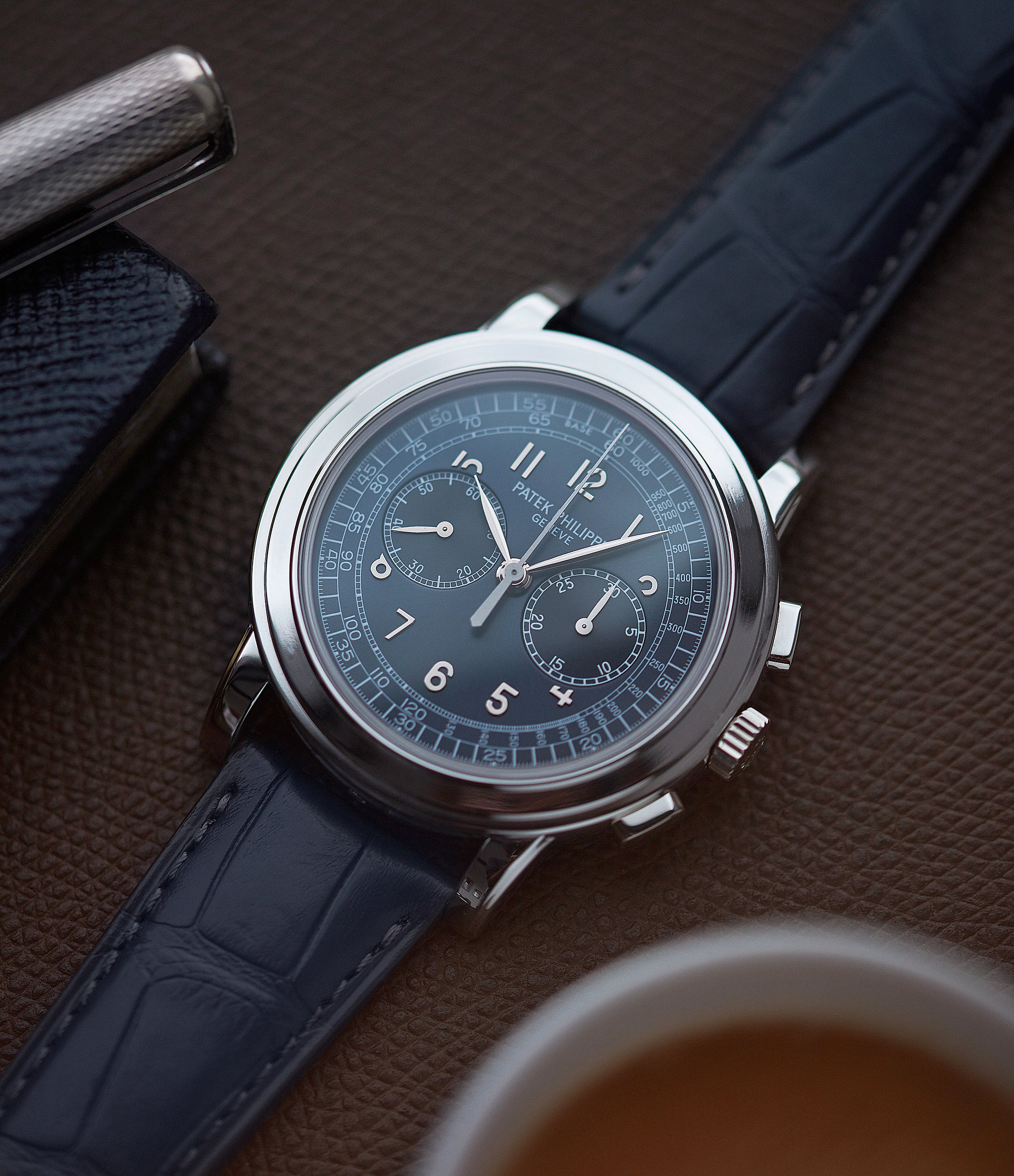 Patek Philippe 5070P Chronograph blue dial dress watch for sale online at A Collected Man London UK specialist of rare watches