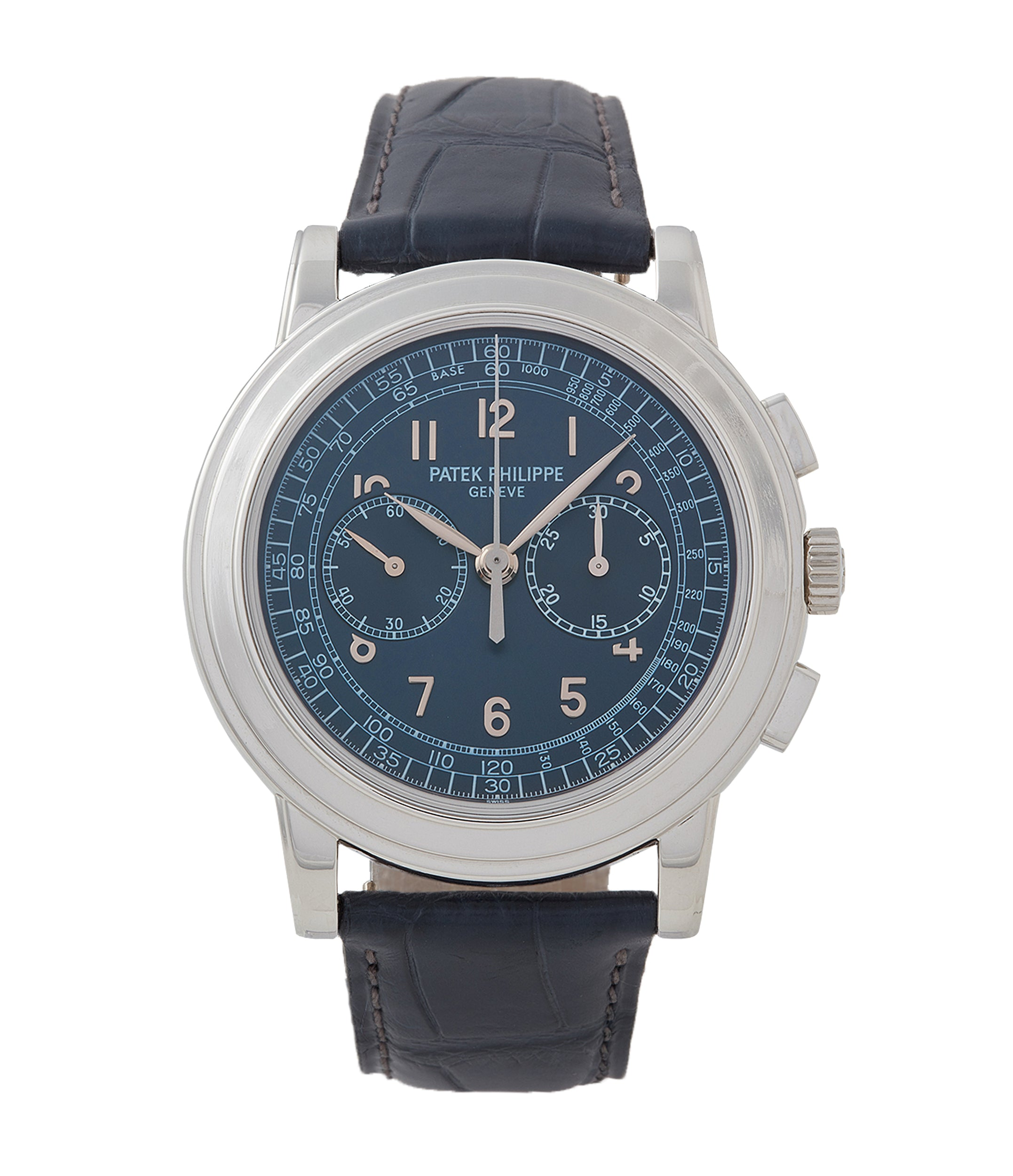 buy Patek Philippe 5070P Chronograph blue dial dress watch for sale online at A Collected Man London UK specialist of rare watches