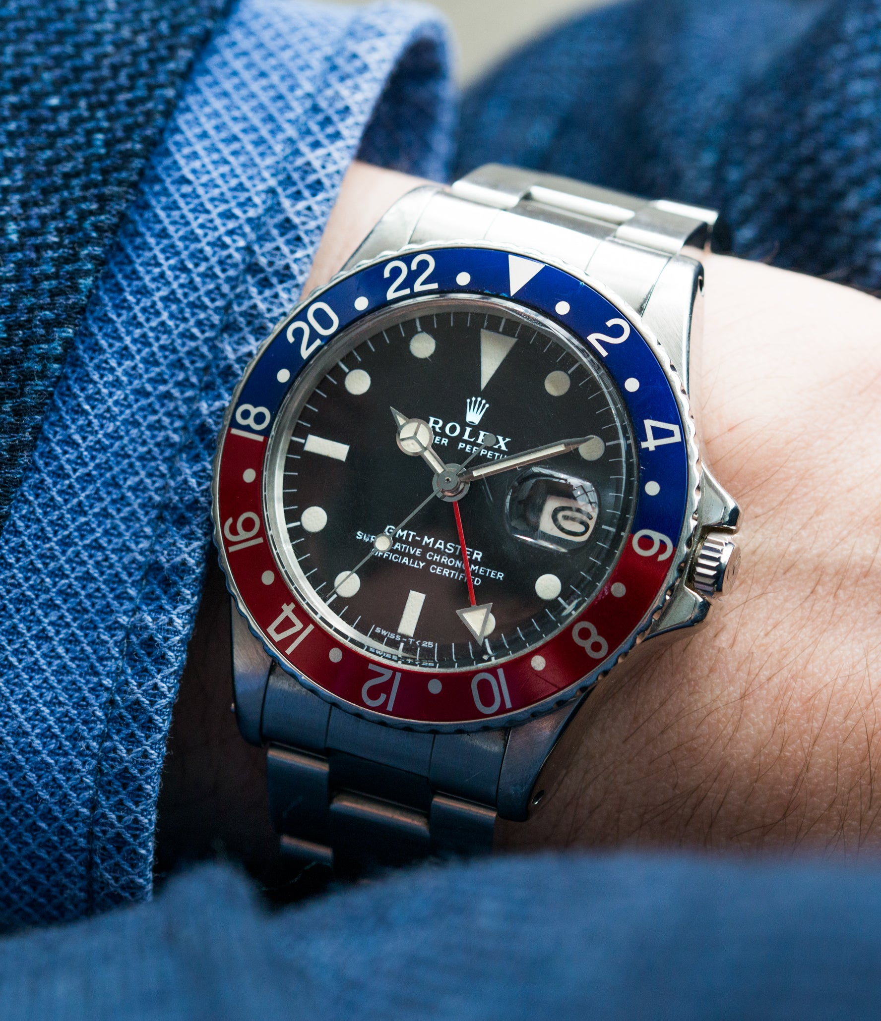 on the wrist vintage Rolex GMT Master 1675 steel traveller sport watch Pepsi bezel for sale online at A Collected Man London vintage watch specialist