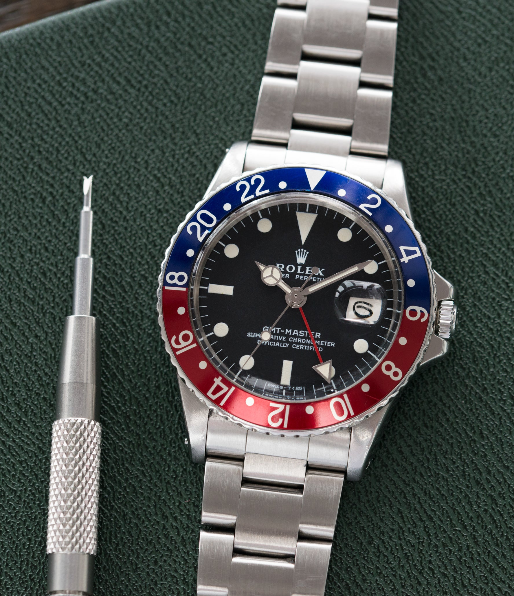 steel vintage Rolex GMT Master 1675 vintage steel traveller sport watch Pepsi bezel for sale online at A Collected Man London vintage watch specialist