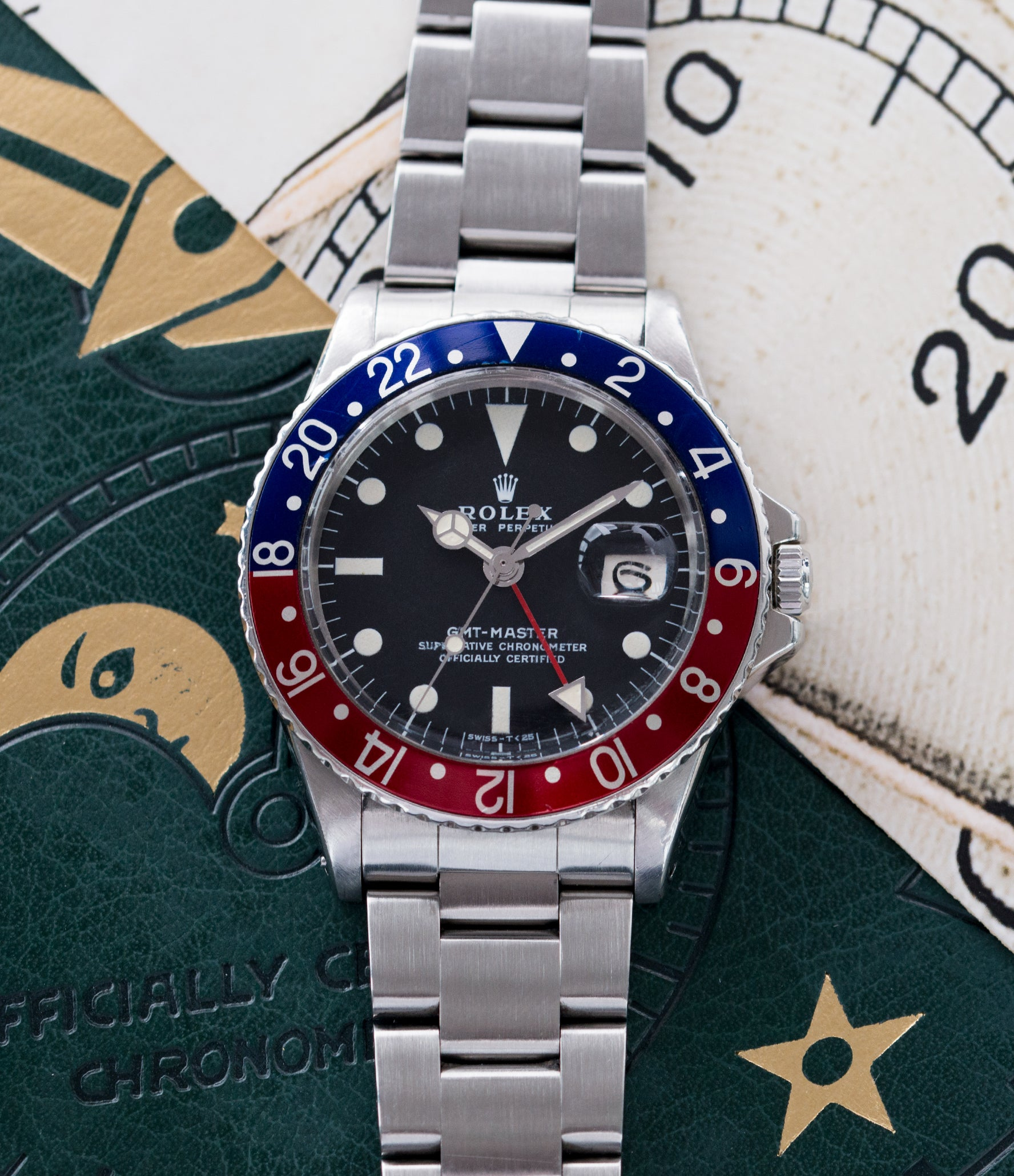 selling vintage Rolex GMT Master 1675 steel traveller sport watch Pepsi bezel for sale online at A Collected Man London vintage watch specialist