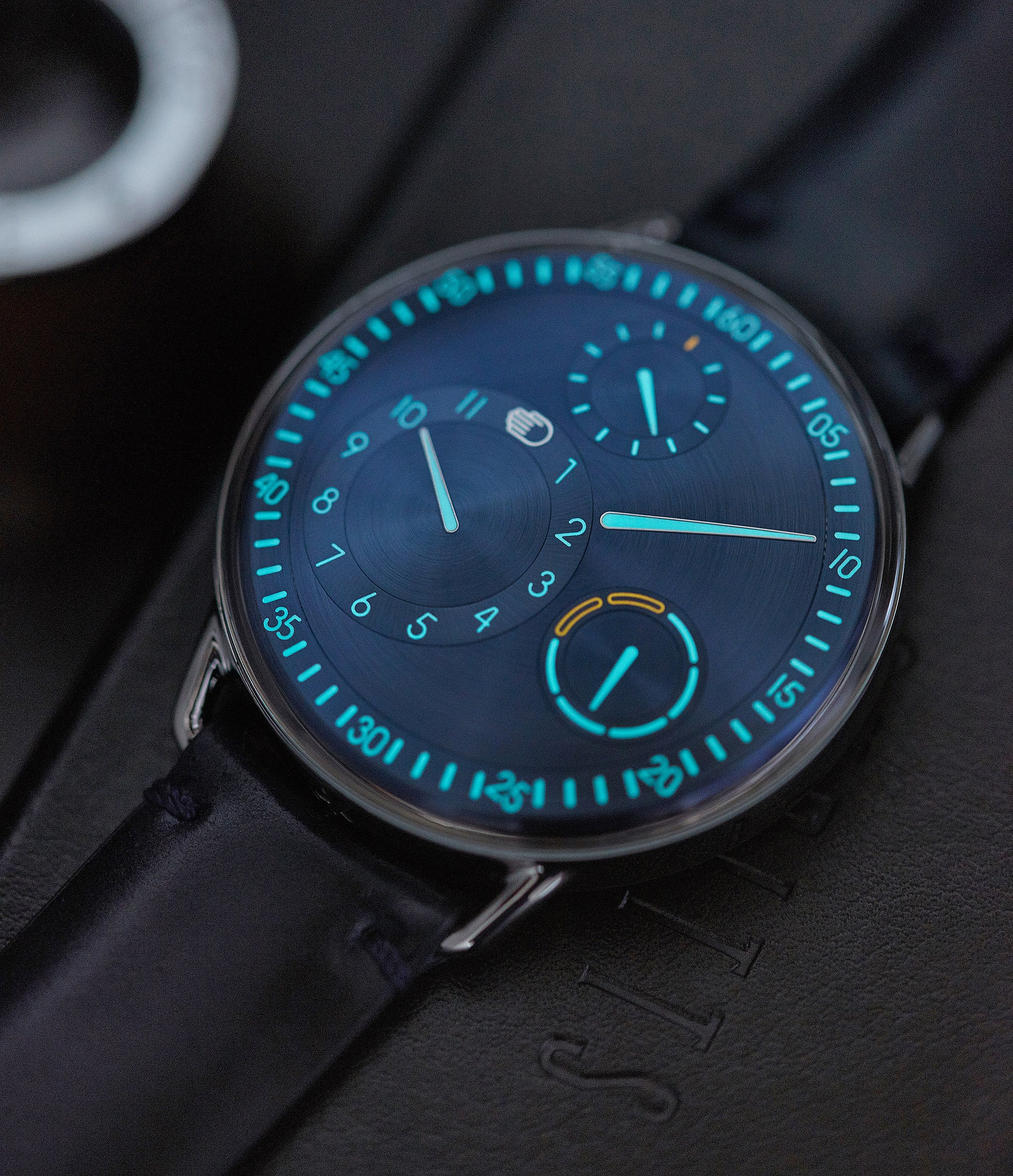 luminous blue dial Ressence Type 1N titanium independent watchmaker watch for sale online at A Collected Man London UK specialist of rare watches