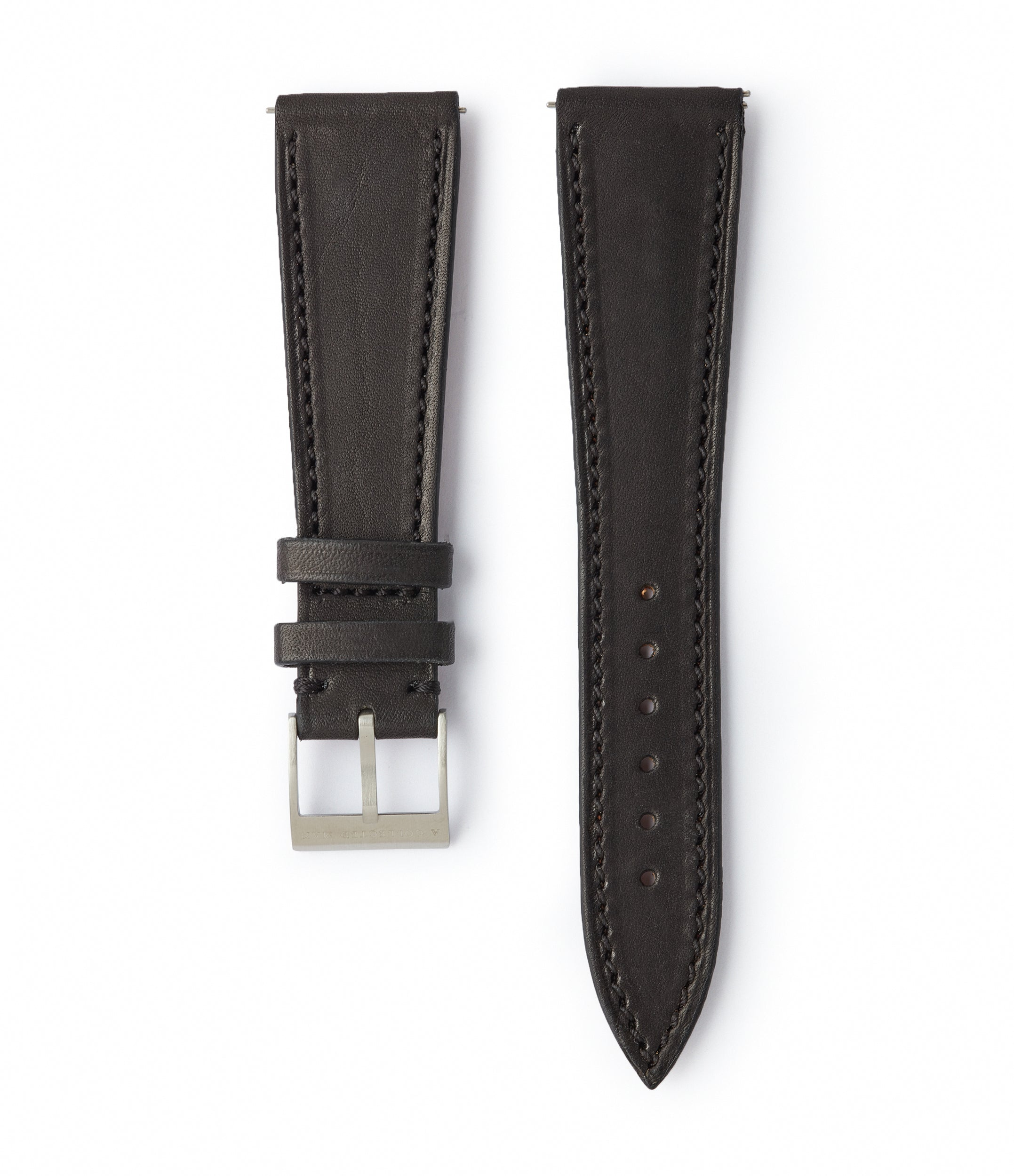 buy black smooth calfskin leather 21mm watch strap Reykjavík for sale online A Collected Man high quality European leather