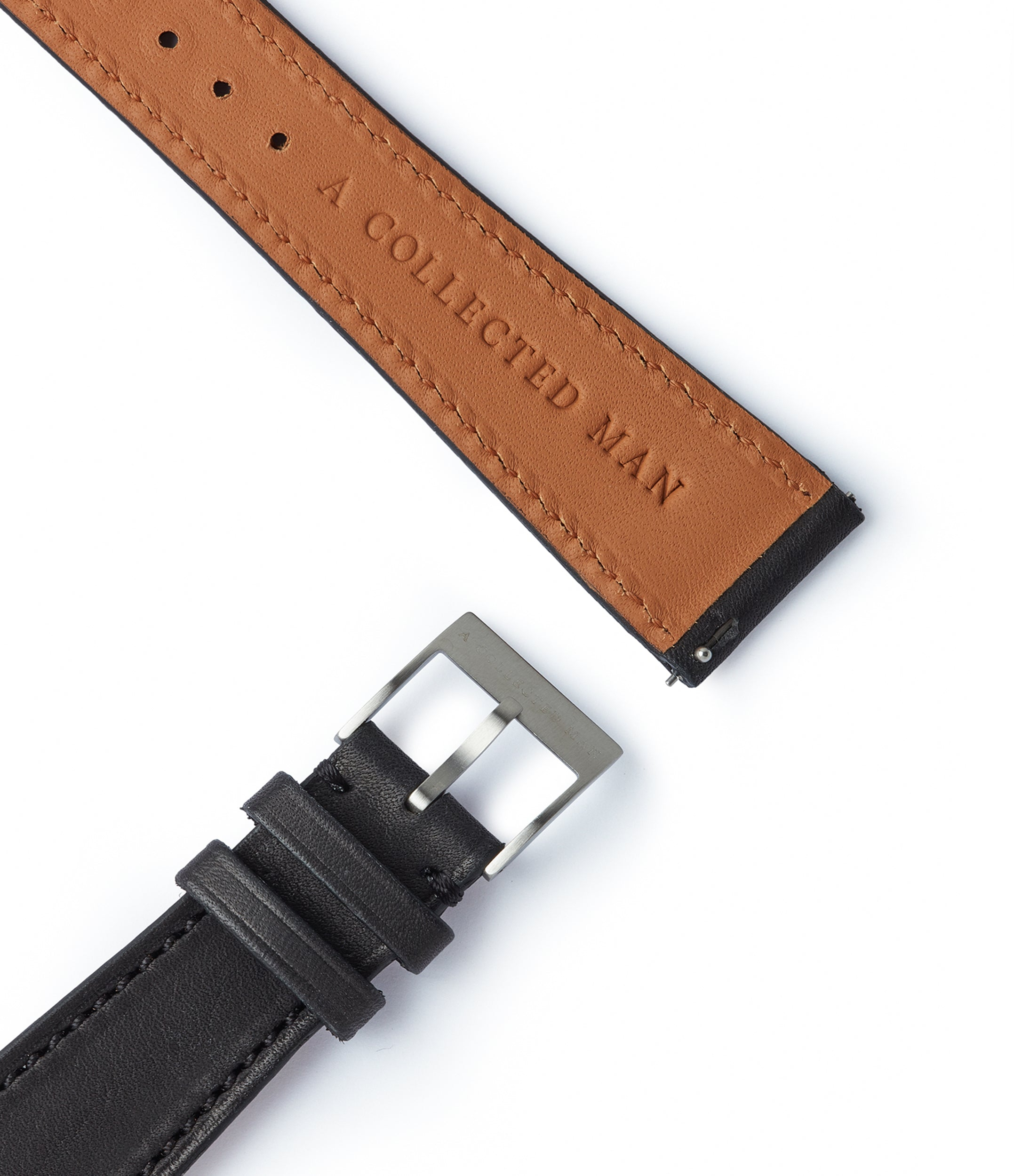 selling black smooth calfskin leather 21mm watch strap Reykjavík for sale online A Collected Man high quality European leather