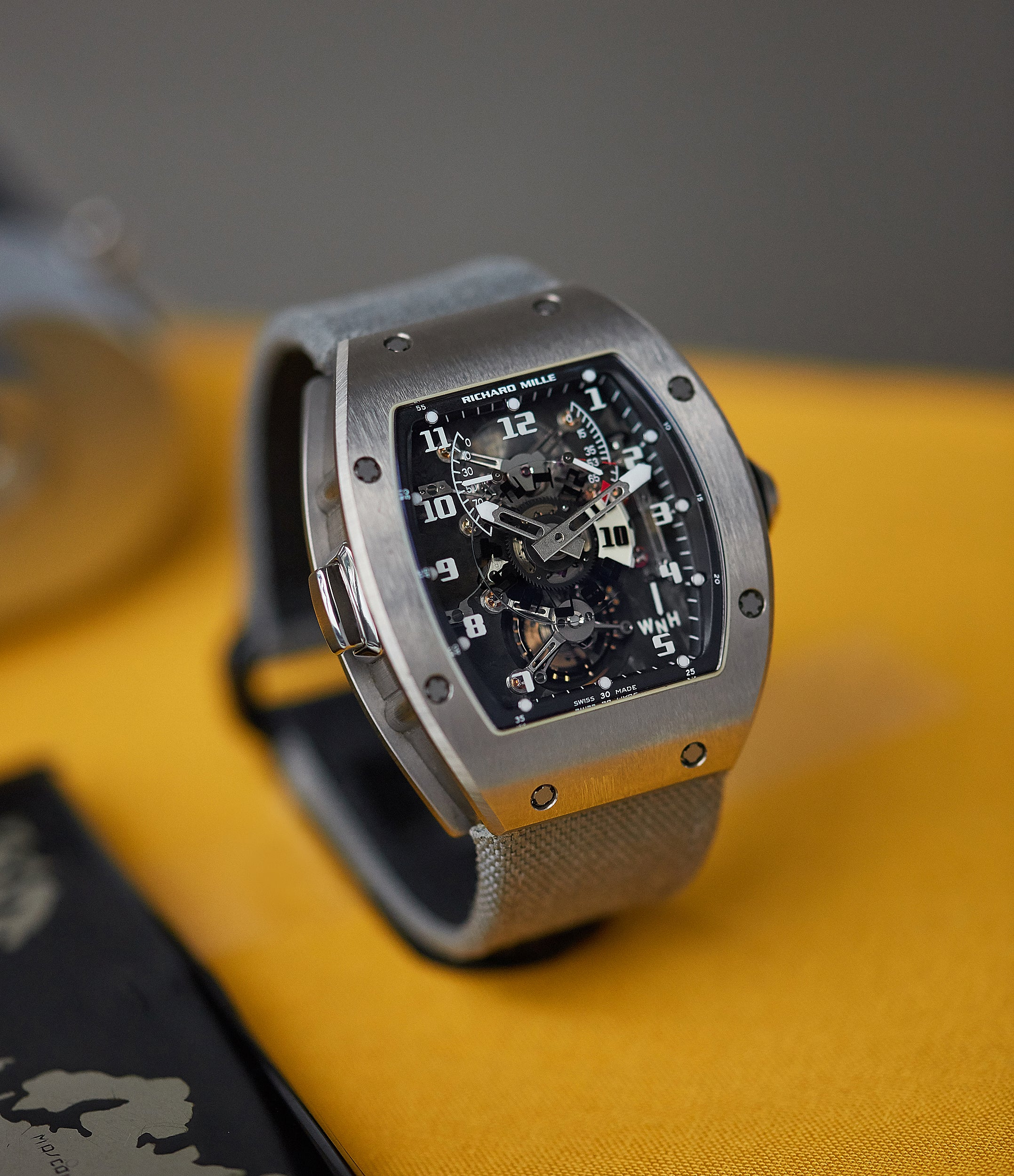 shop London United Kingdom Richard Mille RM003-V2 titanium tourbillon dual-time pre-owned rare independent watchmaker sports traveller watch for sale online at A Collected Man London UK specialist of rare watches