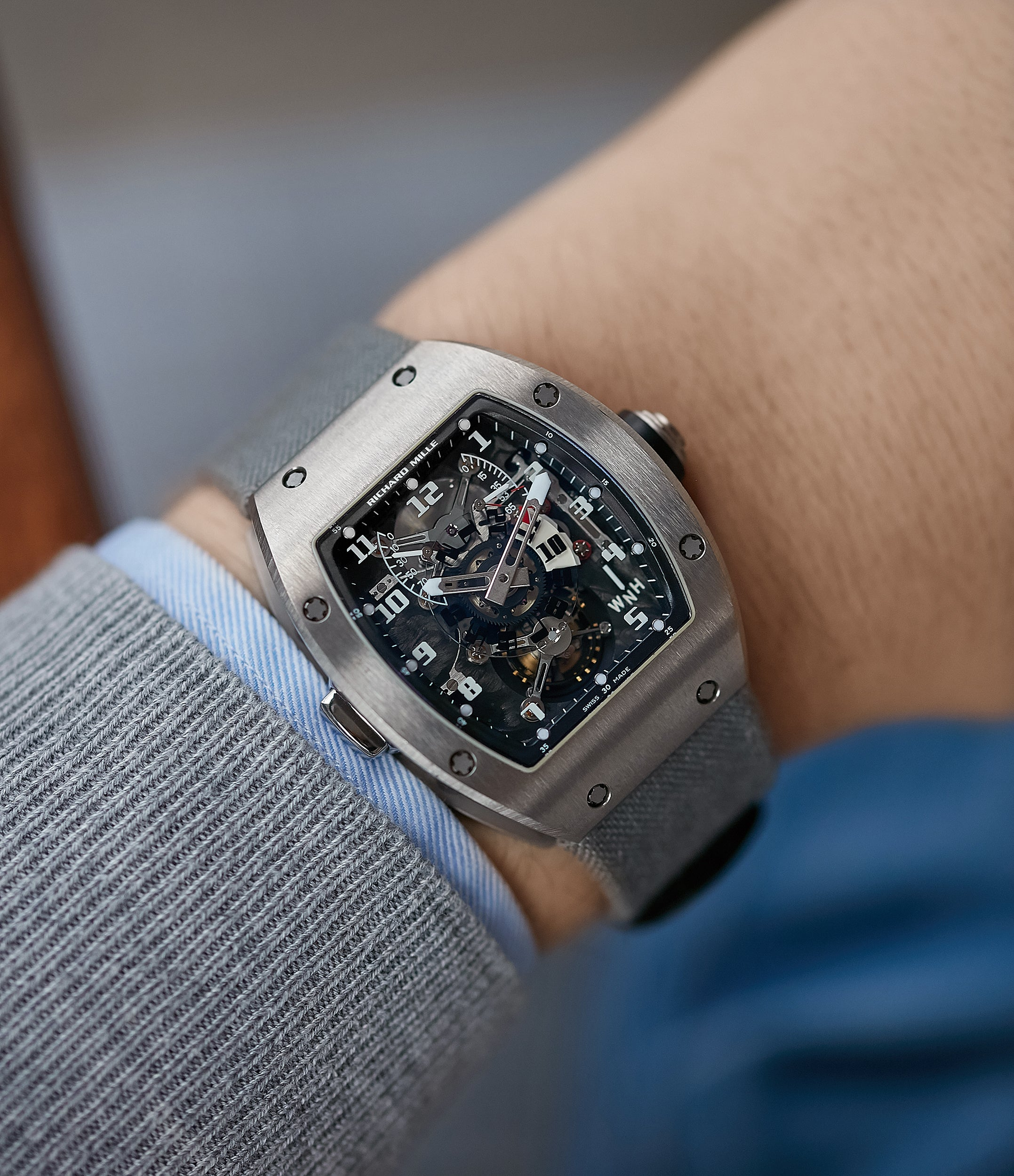titanium wristwatch Richard Mille RM003-V2 tourbillon dual-time pre-owned rare independent watchmaker sports traveller watch for sale online at A Collected Man London UK specialist of rare watches