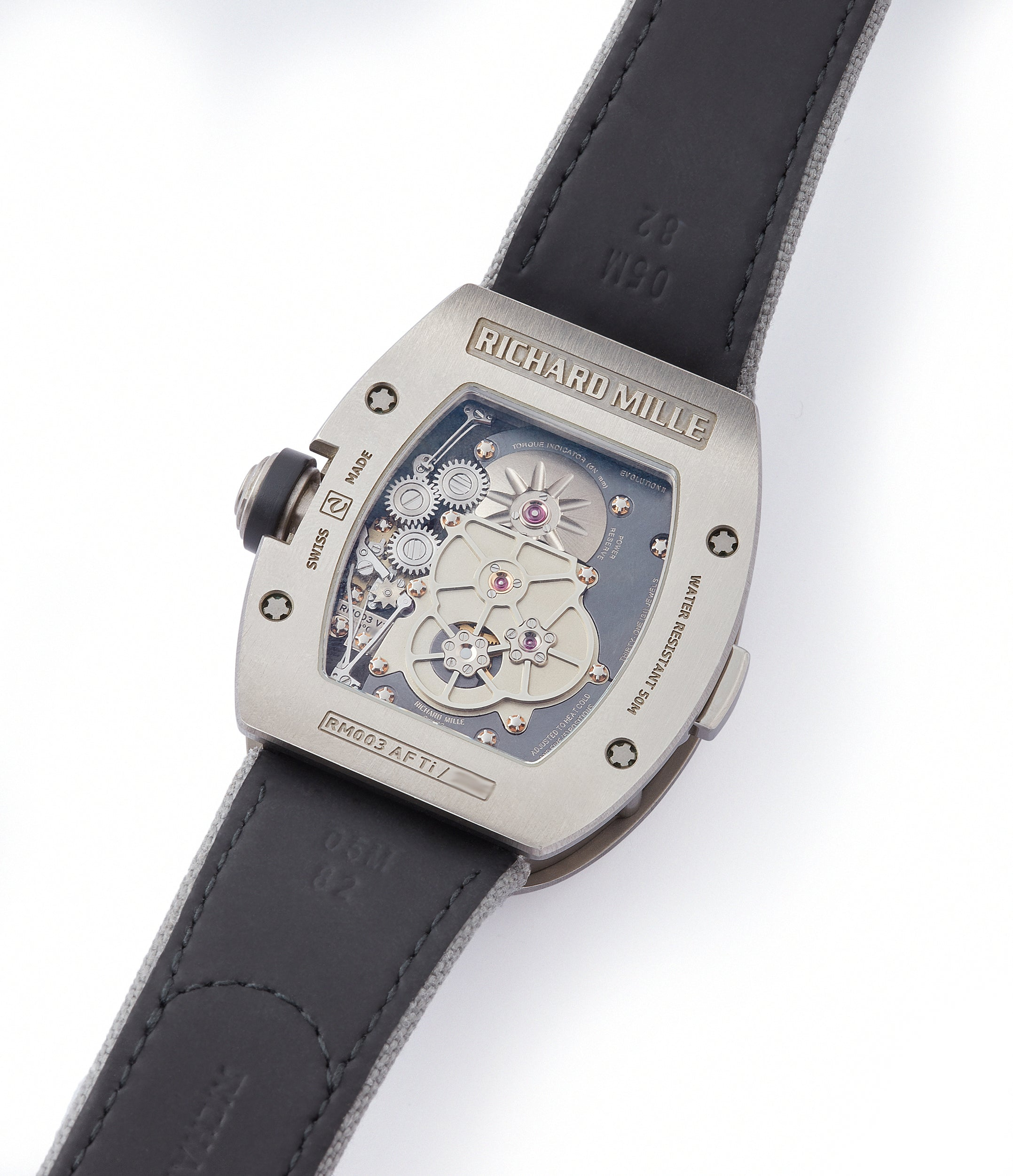 manual-winding RM003-V2 movement Richard Mille titanium tourbillon dual-time pre-owned rare independent watchmaker sports traveller watch for sale online at A Collected Man London UK specialist of rare watches