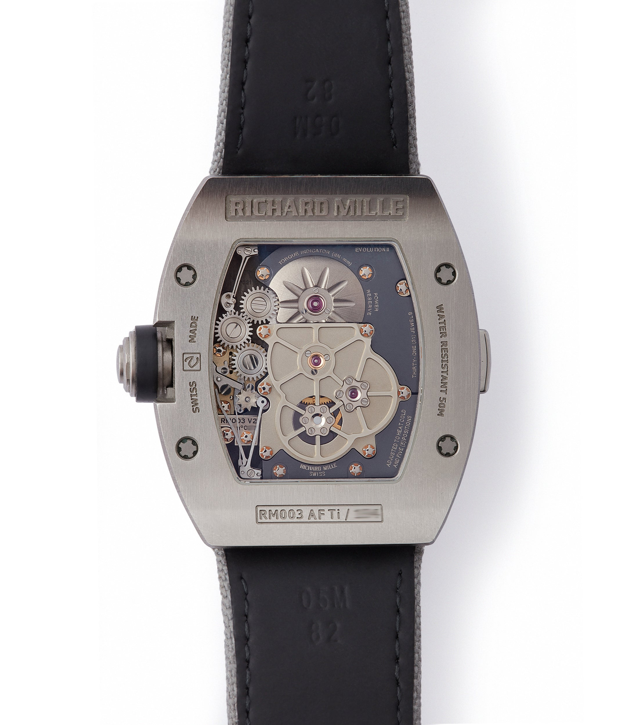 Calibre RM003-V2 movement Richard Mille titanium tourbillon dual-time pre-owned rare independent watchmaker sports traveller watch for sale online at A Collected Man London UK specialist of rare watches