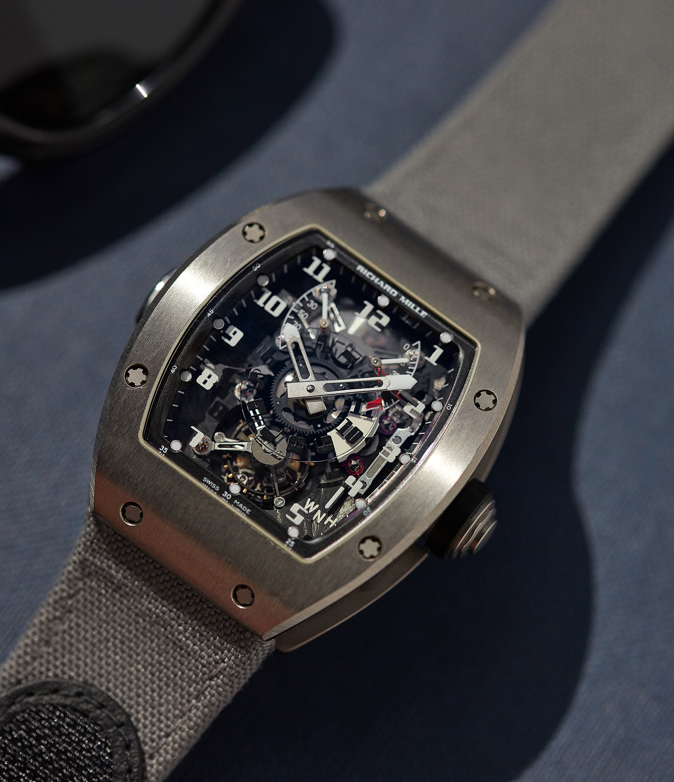 hand-finished RM003-V2 movement Richard Mille titanium tourbillon dual-time pre-owned rare independent watchmaker sports traveller watch for sale online at A Collected Man London UK specialist of rare watches