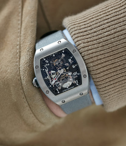 Richard Mille RM003-V2 titanium tourbillon dual-time pre-owned rare independent watchmaker sports traveller watch for sale online at A Collected Man London UK specialist of rare watches