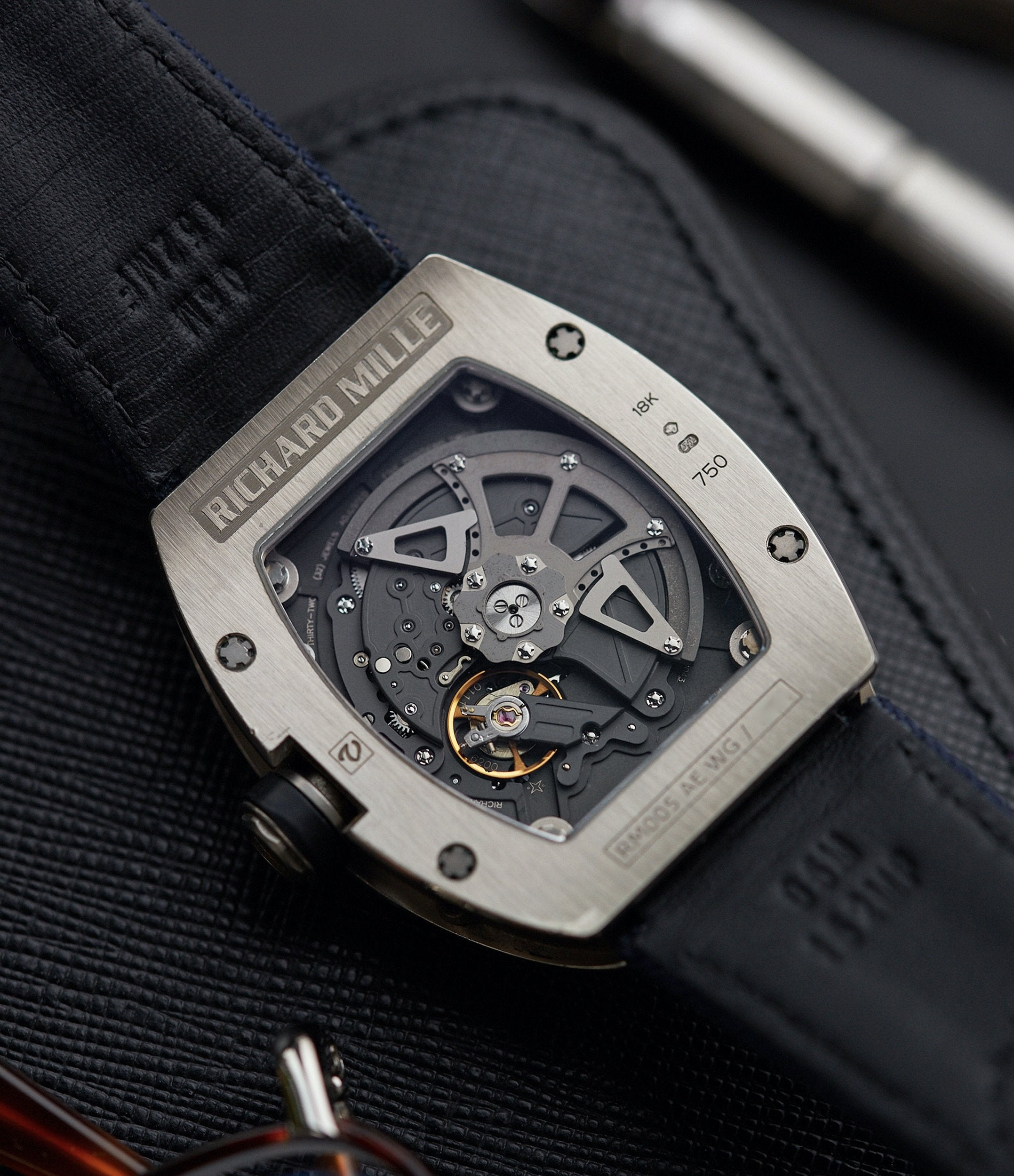 RMAS7 calibre movement Richard Mille RM005 AE WG white gold skeletonised men's luxury sports watch for sale online A Collected Man London UK specialist independent watchmakers