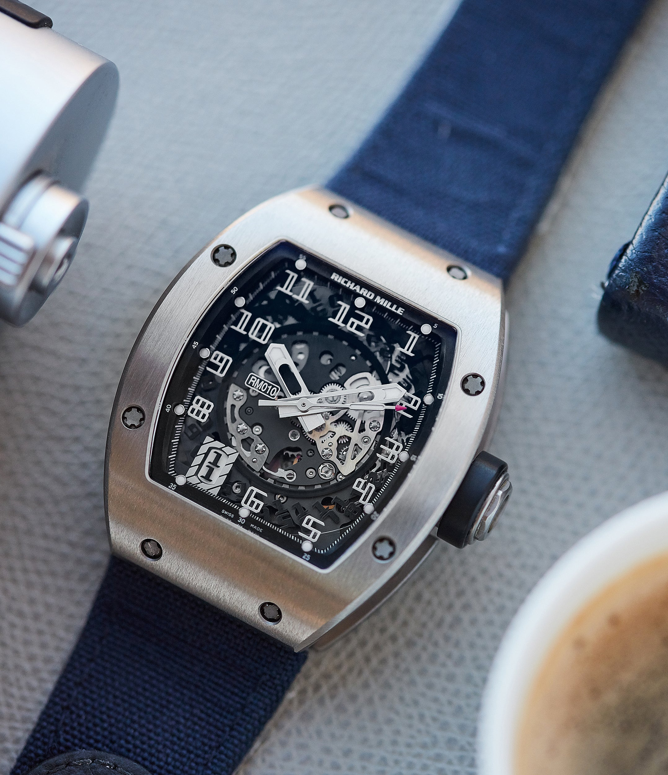 independent watchmaker Richard Mille RM010 titanium rare luxury sport watch for sale online at A Collected Man London UK specialist of rare watches