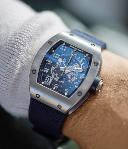 on the wrist Richard Mille RM010 titanium rare luxury sport watch by independent watchmaker for sale online at A Collected Man London UK specialist of rare watches