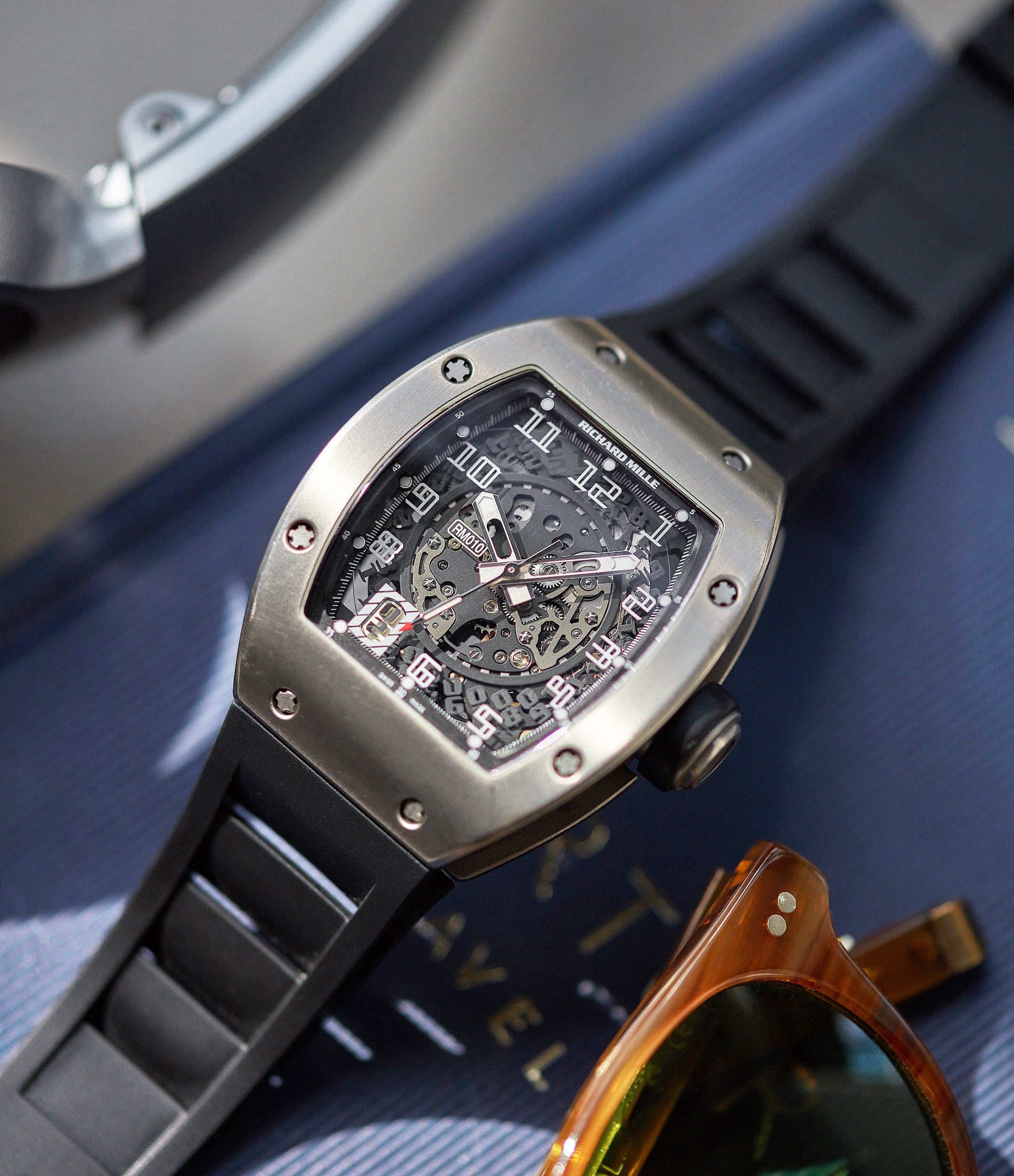 shop pre-owned Richard Mille RM 010TI titanium men's sports luxury wristwatch for sale online A Collected Man London UK specialist rare independent watchmakers