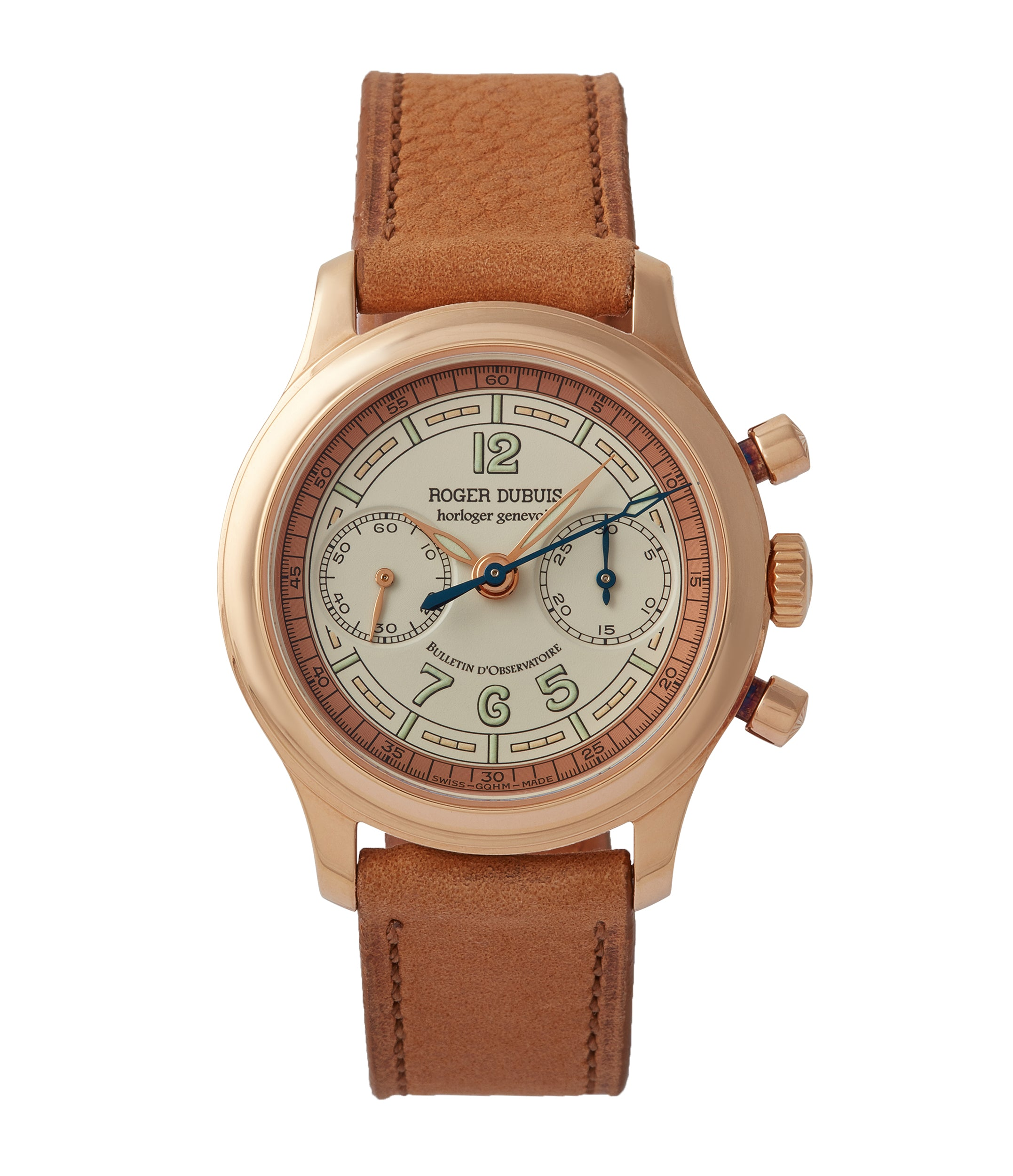 buy Roger Dubuis Hommage Chronograph early H34 560 limited edition rose gold sector dial rare dress watch for sale online at A Collected Man London