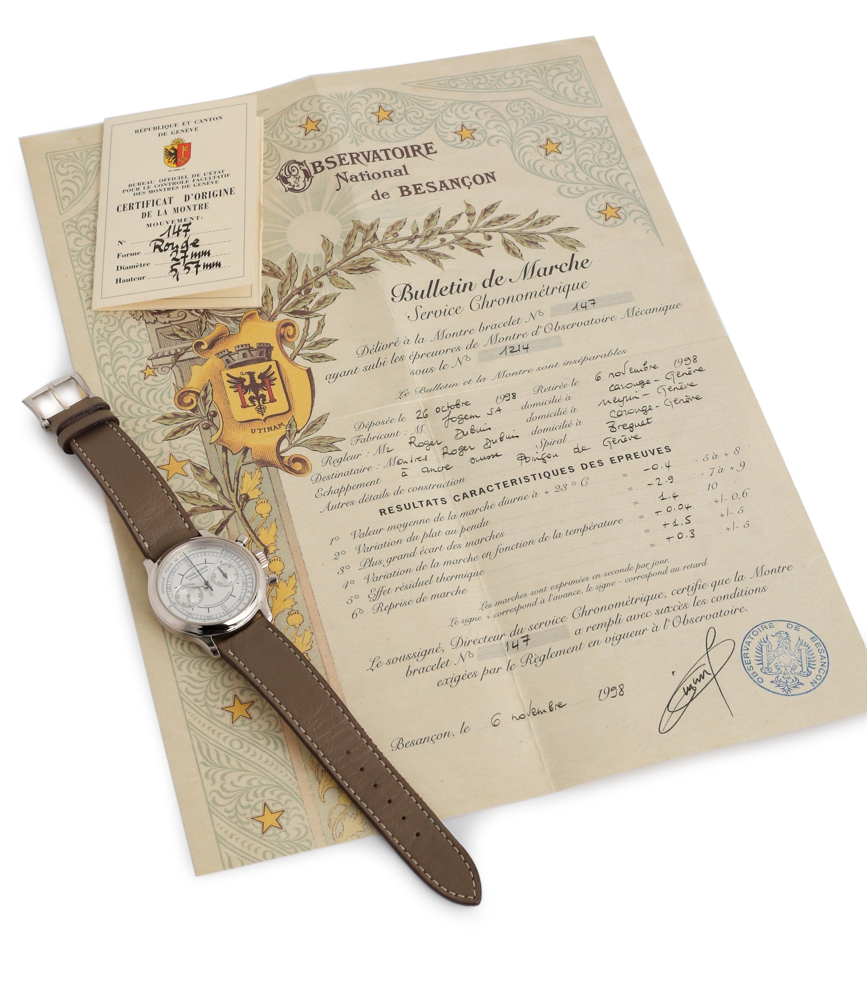 Besancon Certificate with Roger Dubuis Hommage Chronograph early rare watch H37 560 online at a Collcted Man