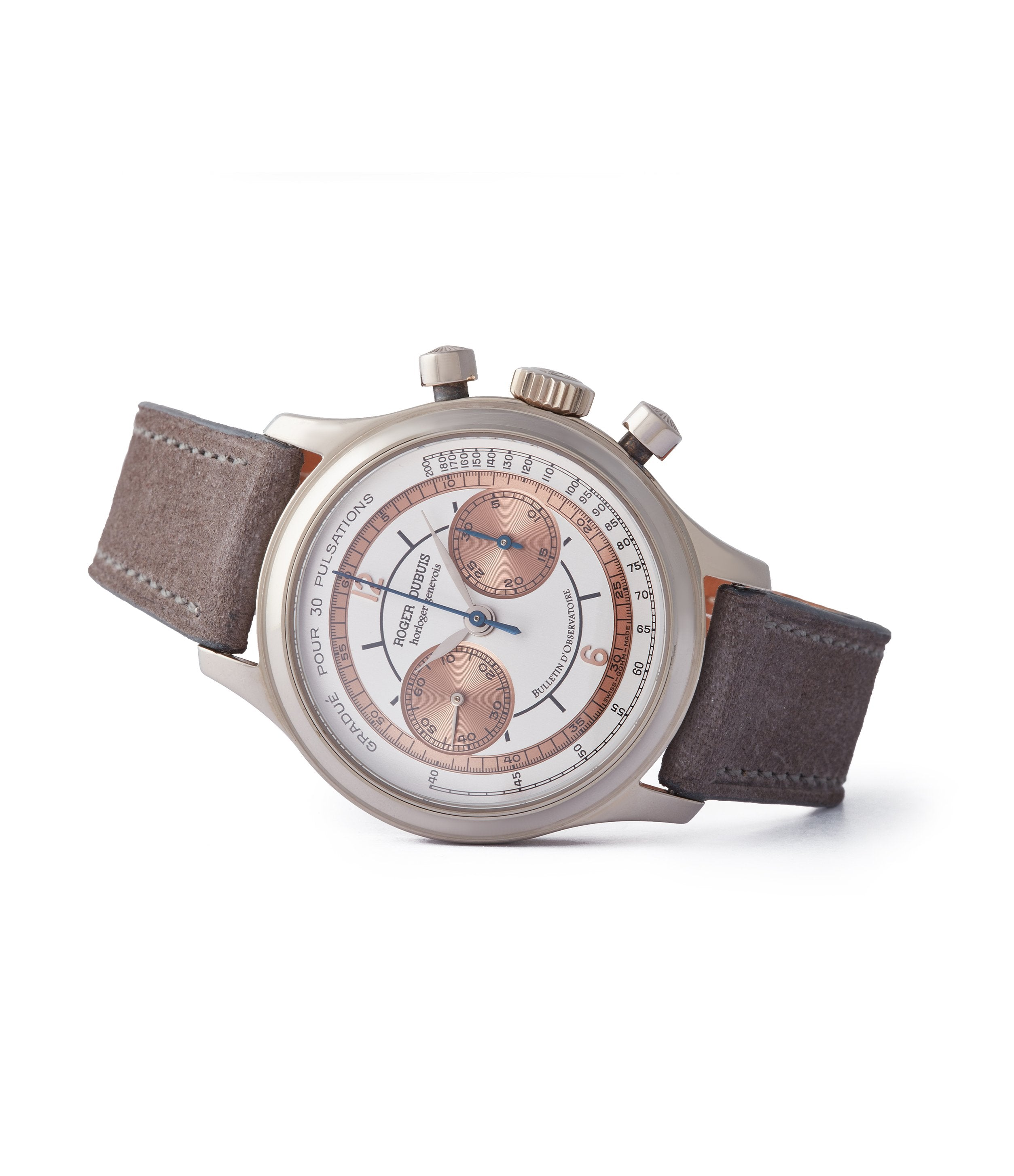 side-shot preowned rare Roger Dubuis Hommage Pulsation scale chronograph H37 560 copper dial dress watch for sale online A Collected Man London UK specialist rare watches