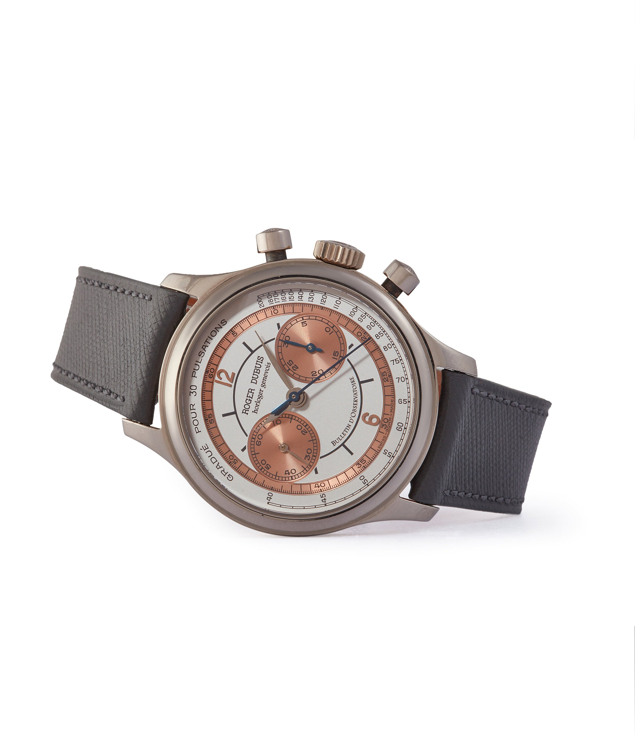side-shot Roger Dubuis Hommage Chronograph two-tone copper sector dial rare watch for sale online A Collected Man London