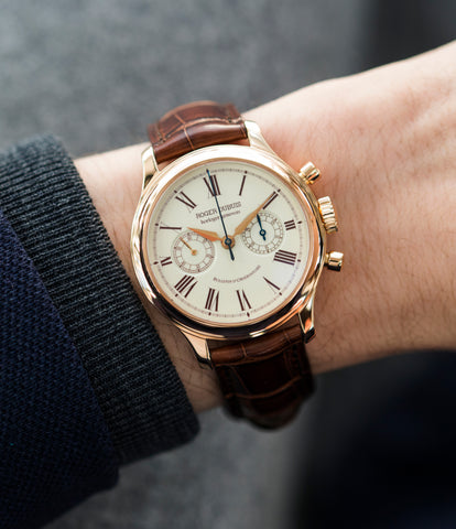 on the wrist Roger Dubuis Hommage Chronograph H37 565 rose gold pre-owned watch online at A Collected Man London UK specialist rare watches