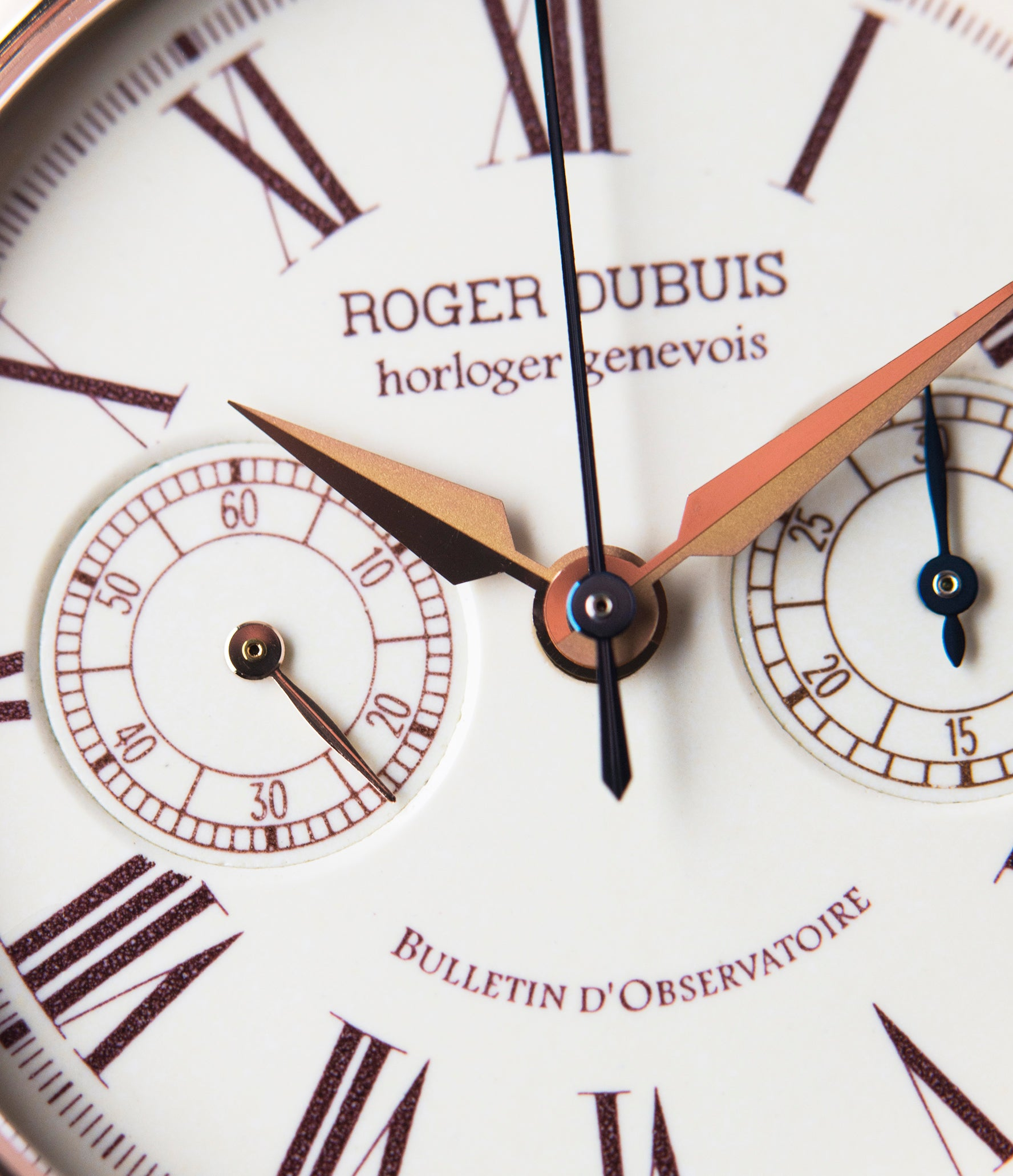 white enamel dial Roger Dubuis Hommage Chronograph H37 565 rose gold pre-owned watch online at A Collected Man London UK specialist rare watches