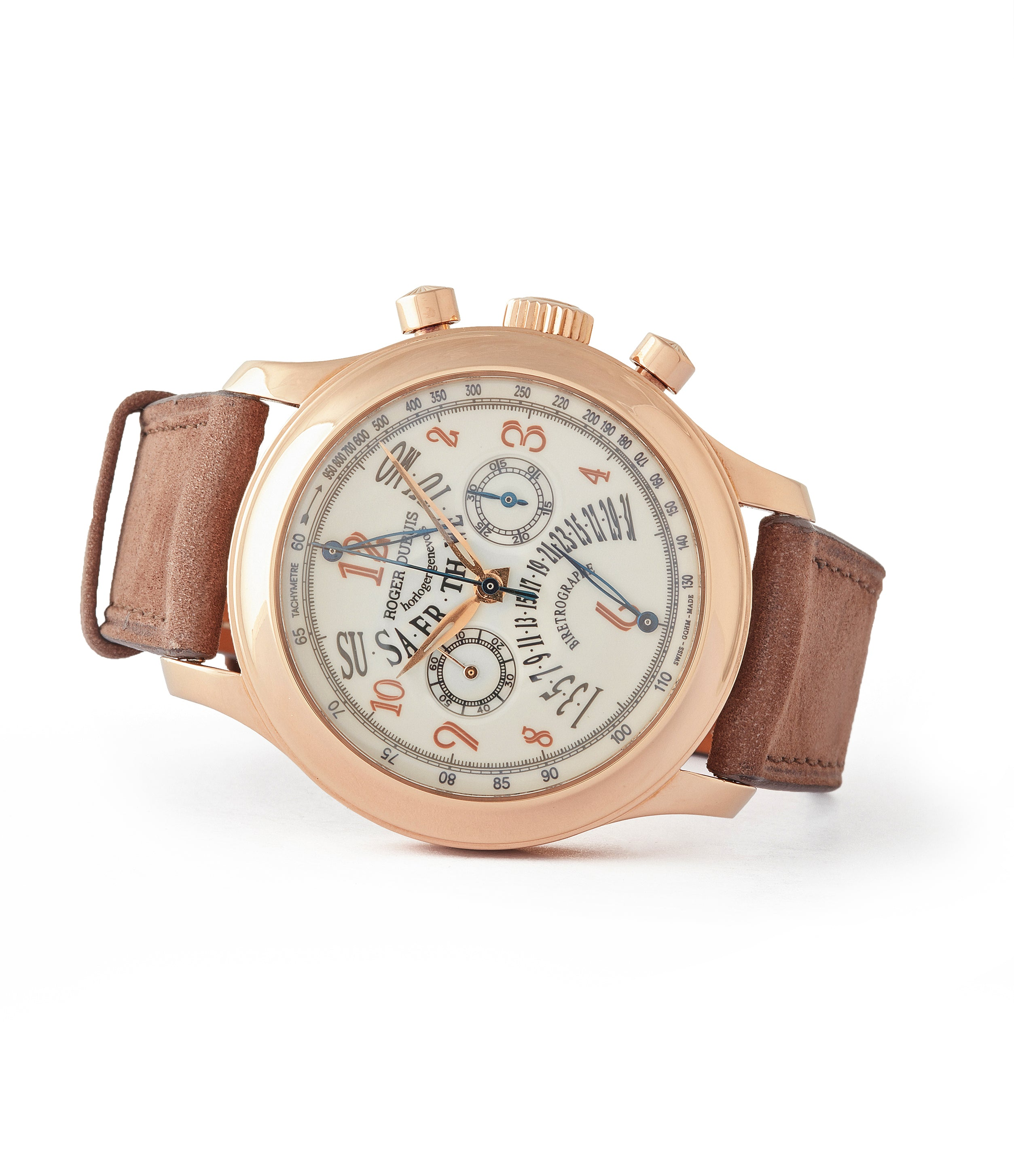 side-shot Roger Dubuis H40 560 Hommage bi-retrograde Chronograph limited edition rare rose gold lacquer dial watch for sale online at A Collected Man London UK specialist of rare watches
