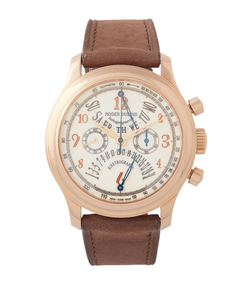 buy Roger Dubuis Hommage bi-retrograde Chronograph H40 560 limited edition rare rose gold lacquer dial watch for sale online at A Collected Man London UK specialist of rare watches