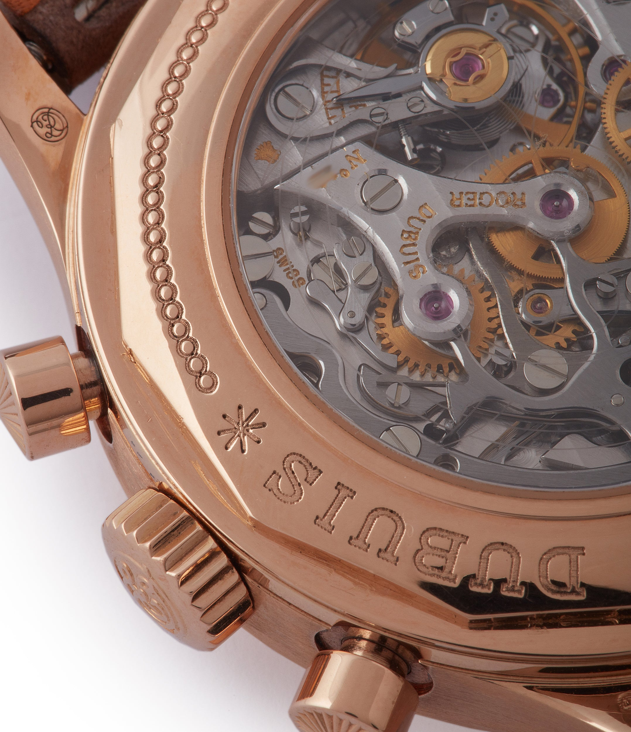RD5630 Roger Dubuis Hommage bi-retrograde Chronograph H40 560 limited edition rare rose gold lacquer dial watch for sale online at A Collected Man London UK specialist of rare watches