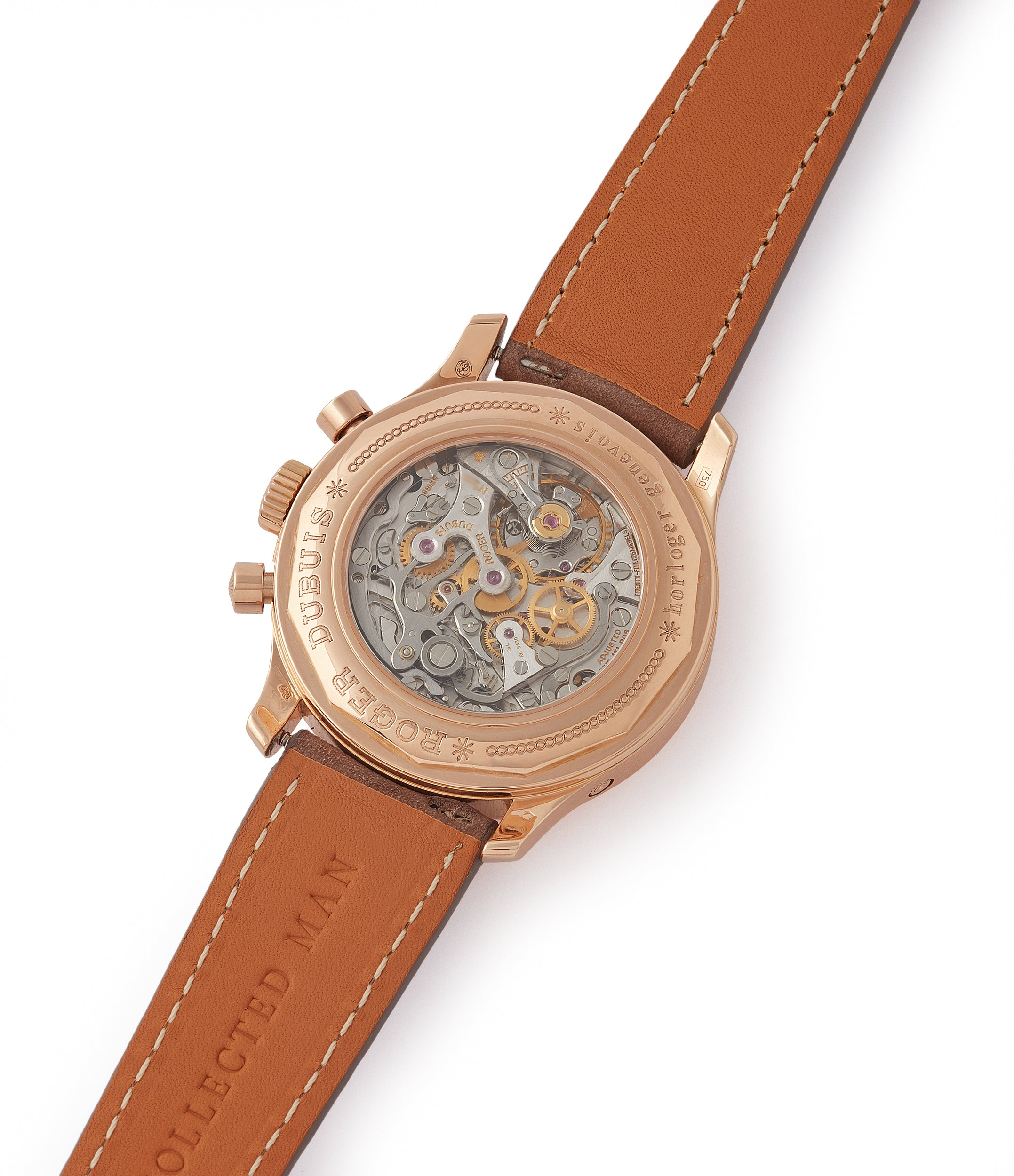 H40 560 Roger Dubuis Hommage bi-retrograde Chronograph limited edition rare rose gold lacquer dial watch for sale online at A Collected Man London UK specialist of rare watches