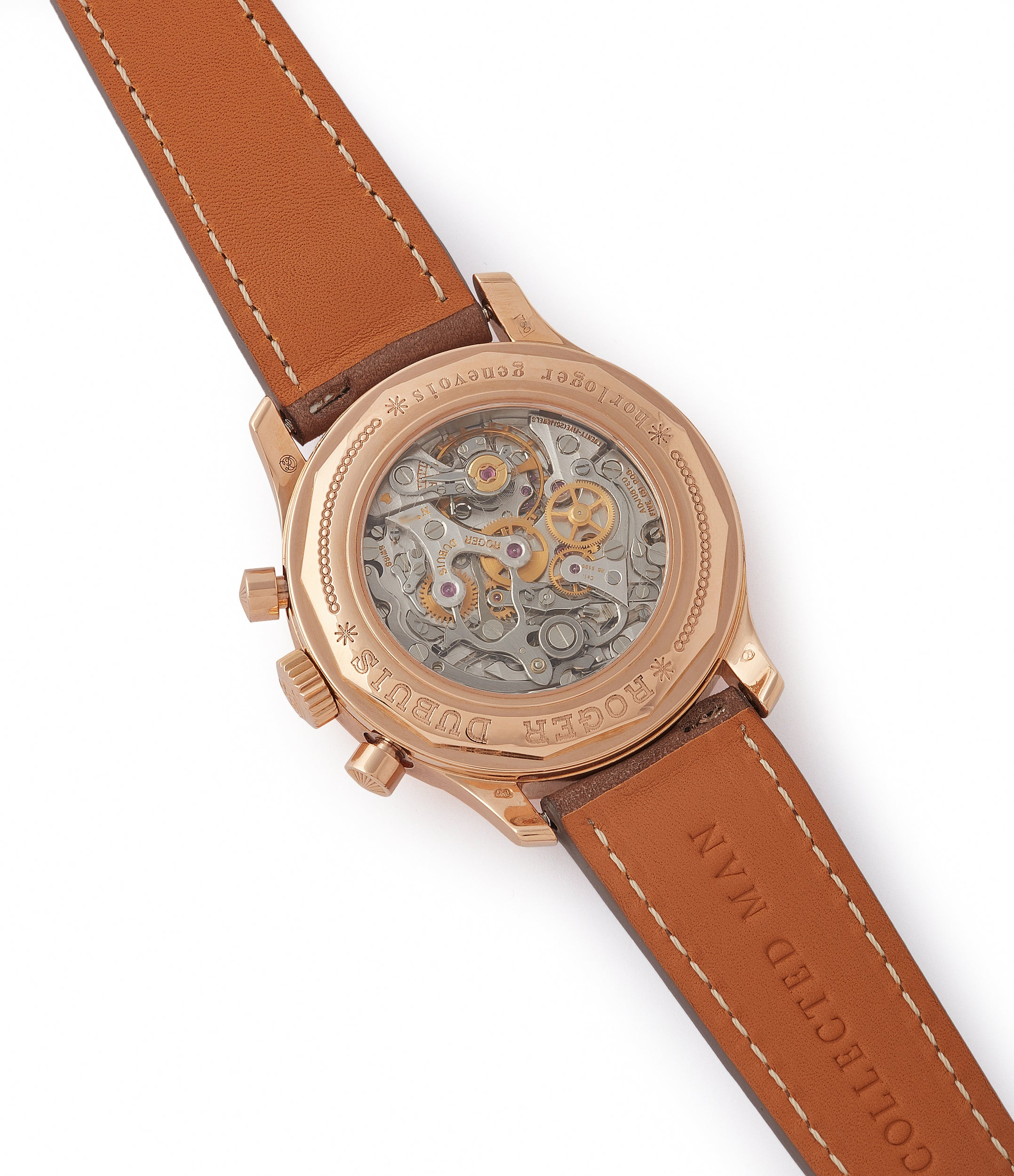 manual-winding Roger Dubuis Hommage bi-retrograde Chronograph H40 560 limited edition rare rose gold lacquer dial watch for sale online at A Collected Man London UK specialist of rare watches
