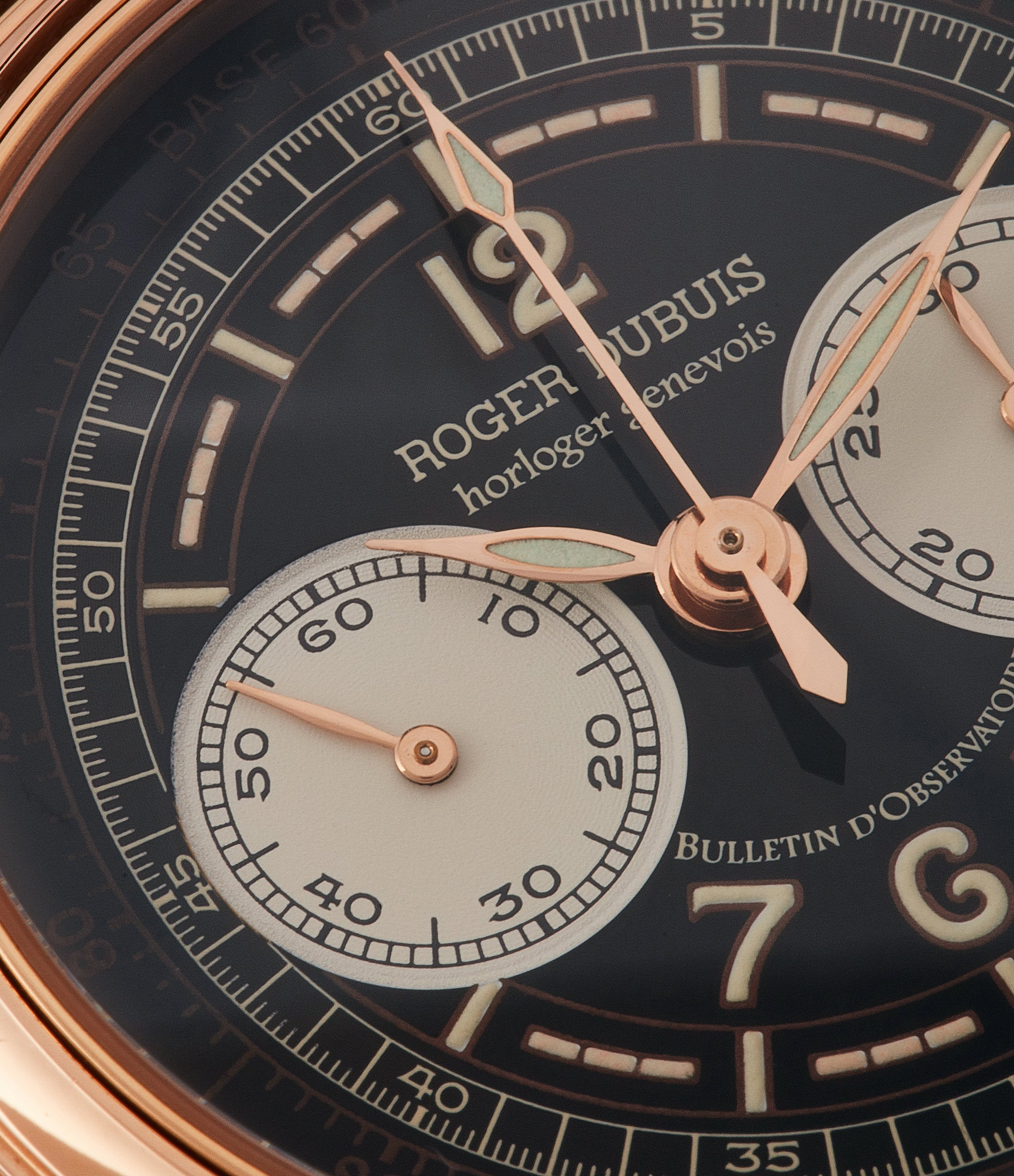 rare watch Roger Dubuis Hommage Chronograph Cal. RD56 H37 560 rose gold watch black dial for sale online at A Collected Man London UK specialist of rare watches