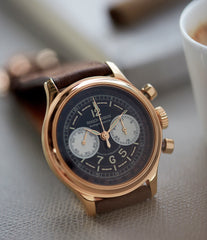buying early Roger Dubuis Hommage Chronograph H37 560 Cal. RD56 rose gold watch black dial for sale online at A Collected Man London UK specialist of rare watches