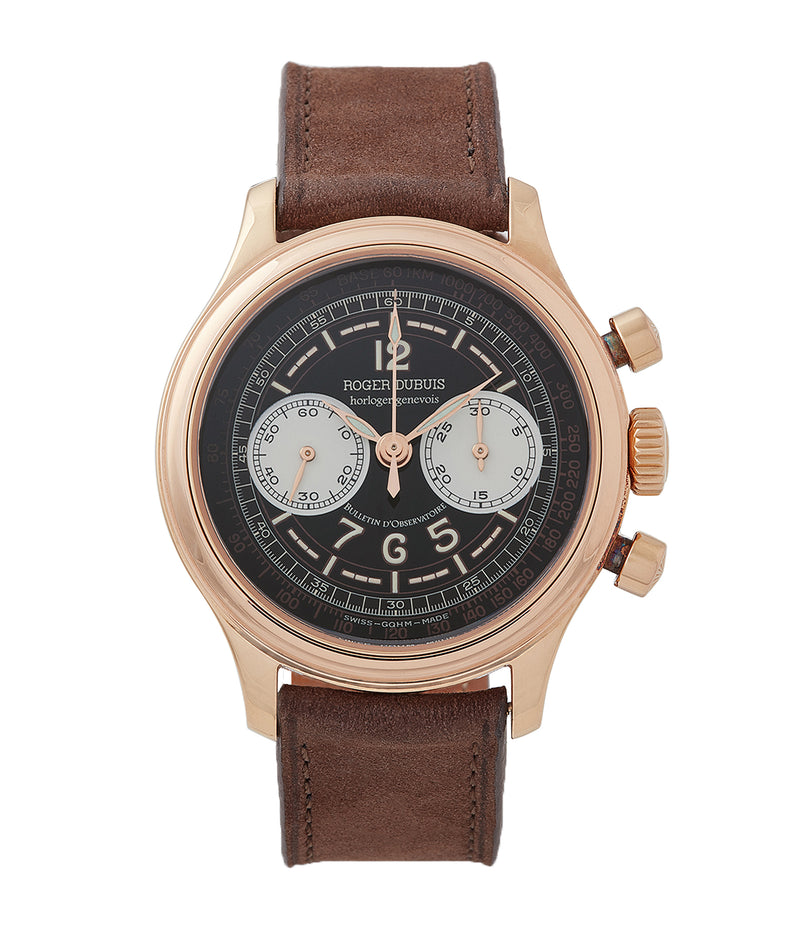 buy early Roger Dubuis Hommage Chronograph H37 560 Cal. RD56 rose gold watch black dial for sale online at A Collected Man London UK specialist of rare watches