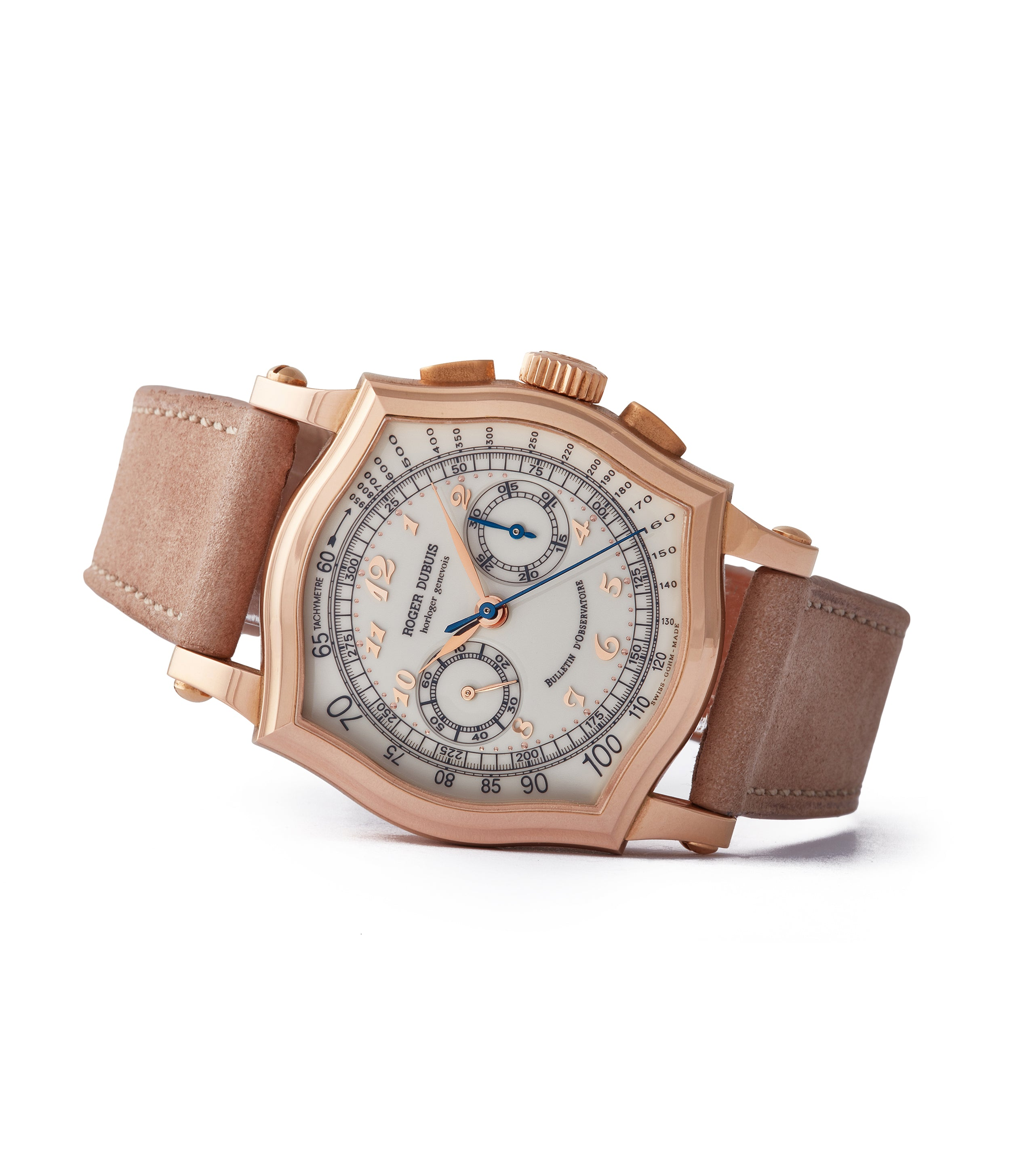 side-shot independent watchmaker Roger Dubuis Sympathie Chronograph S37 56 0 rose gold dress watch for sale online at A Collected Man London UK specialist of collectable watches