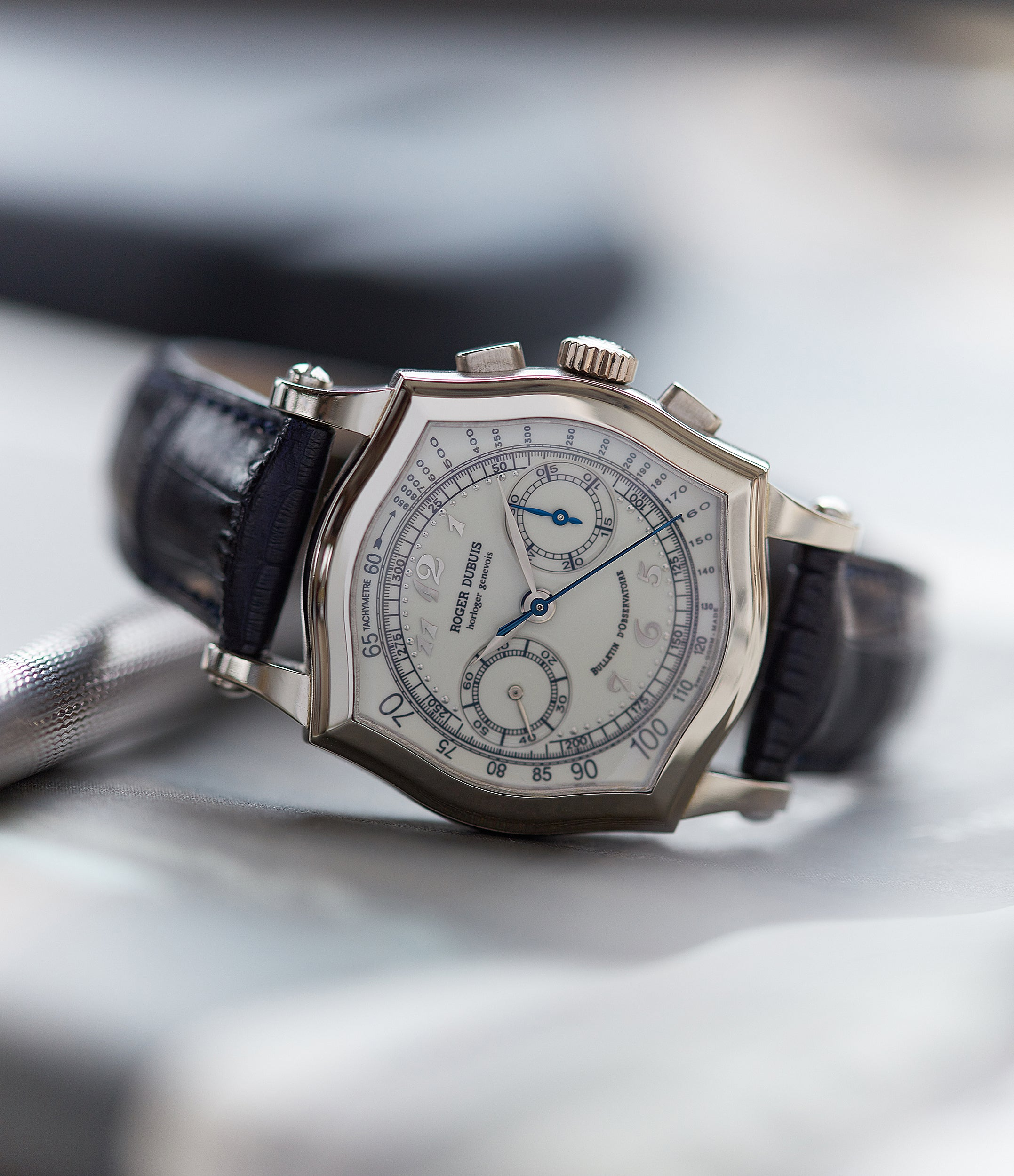Roger Dubuis Sympathie Chronograph S37 Limited Edition white gold dress watch from independent watchmaker for sale online at A Collected Man London UK specialist of rare watches
