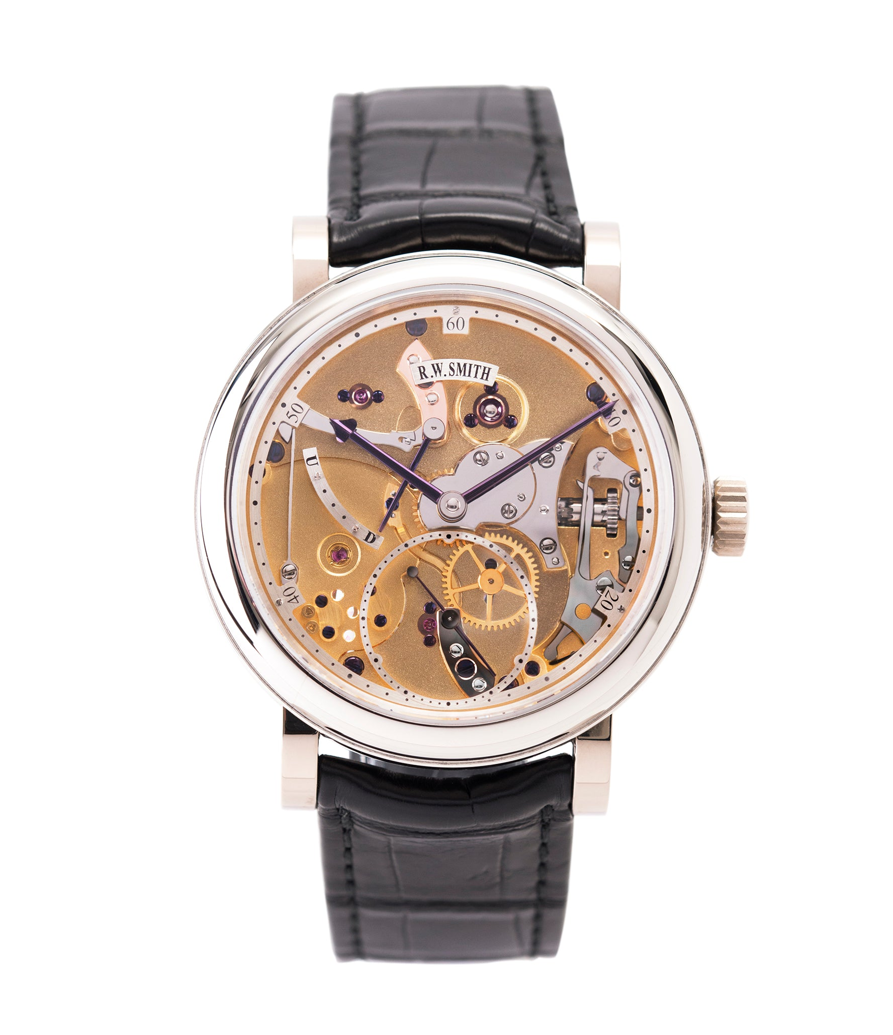 buy Roger W. Smith Series 2 Open Dial white gold rare hand-made dress watch for sale online at A Collected Man London UK specialist of rare independent watches