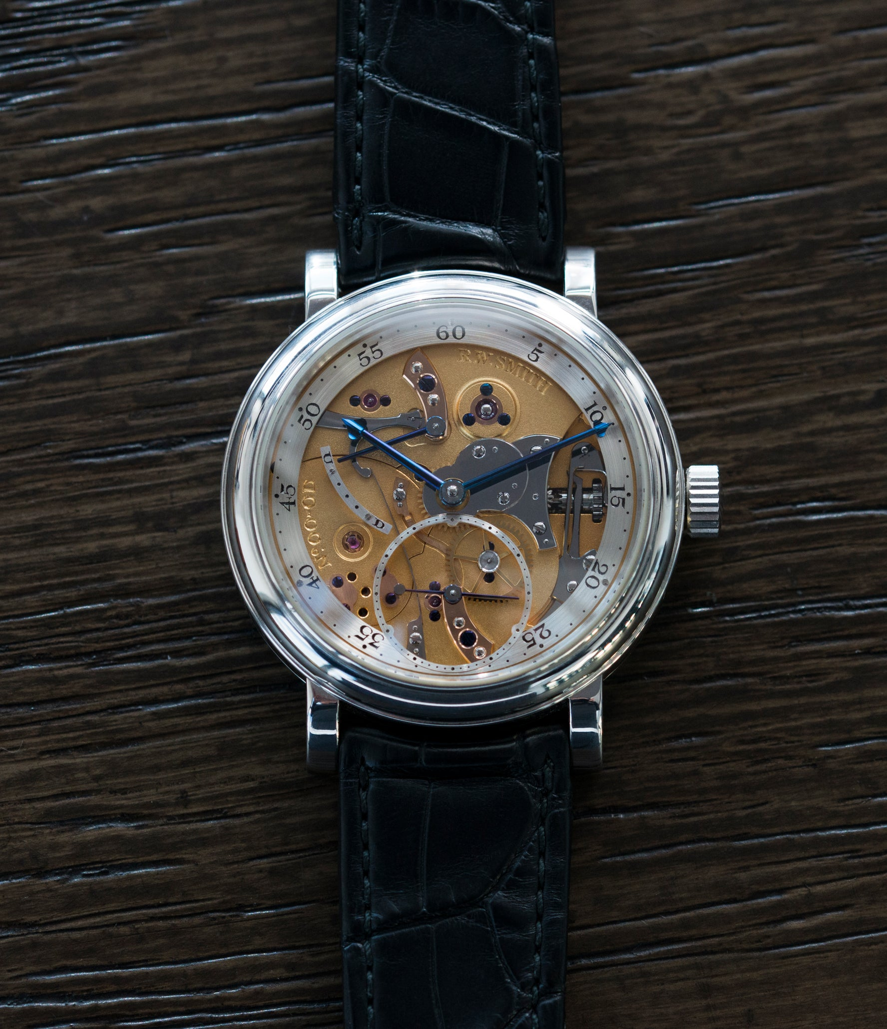 rare hand-made Series 2 Roger W. Smith Open Dial rare dress platinum watch for sale online at A Collected Man London UK approved seller of independent watchmakers