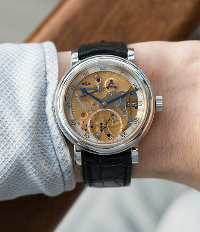 on the wrist Roger W. Smith Series 2 Open dial rare dress platinum watch for sale online at A Collected Man London UK approved seller of independent watchmakers