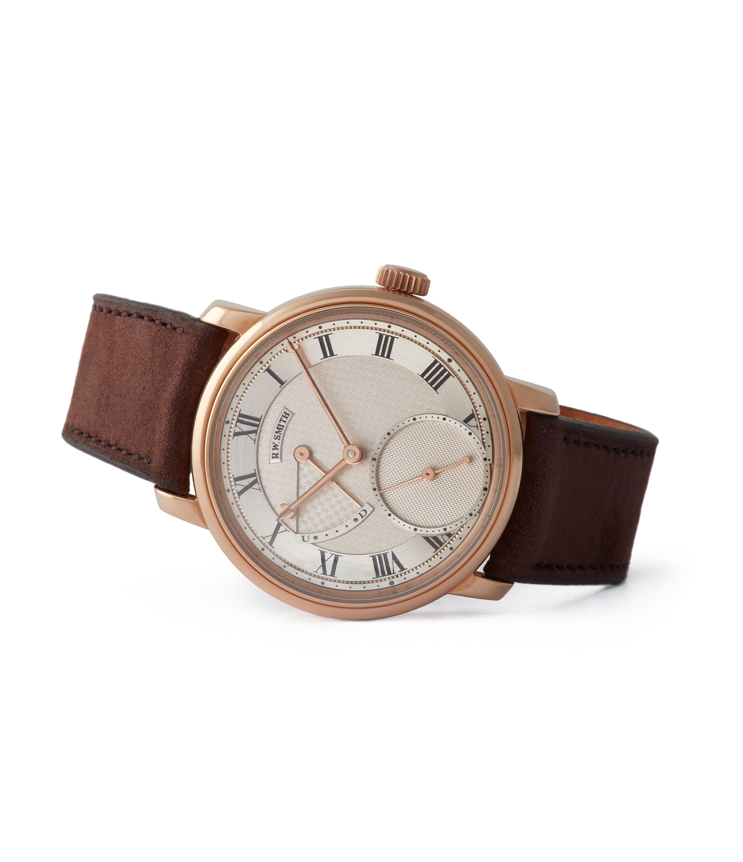 side-shot Roger W. Smith Series 2 rose gold time-only dress watch British for sale online A Collected Man London