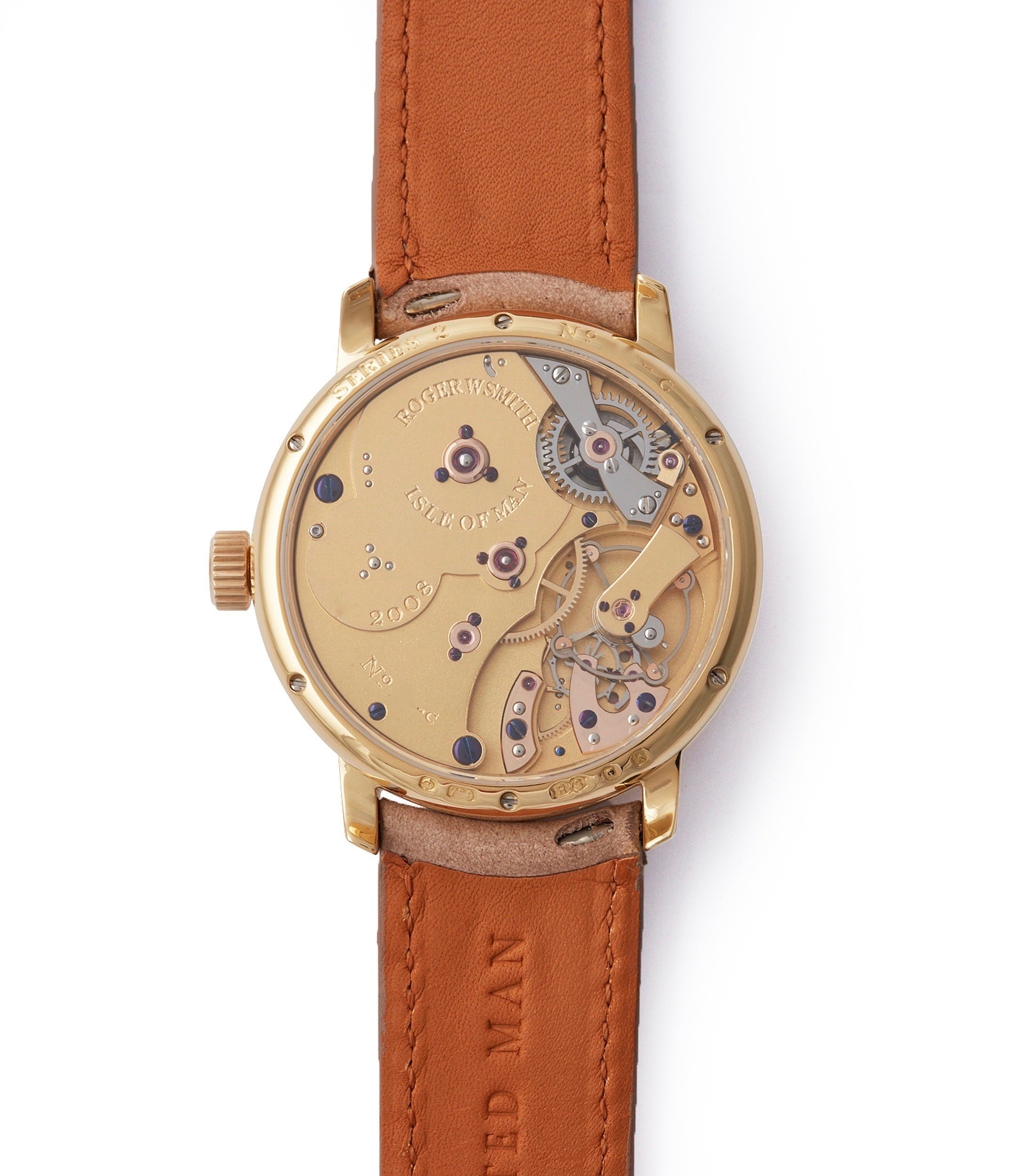 manual-winding Roger W. Smith Series 2 yellow gold early pre-owned independent watchmaker for sale online A Collected Man exclusively approved re-seller Roger Smith
