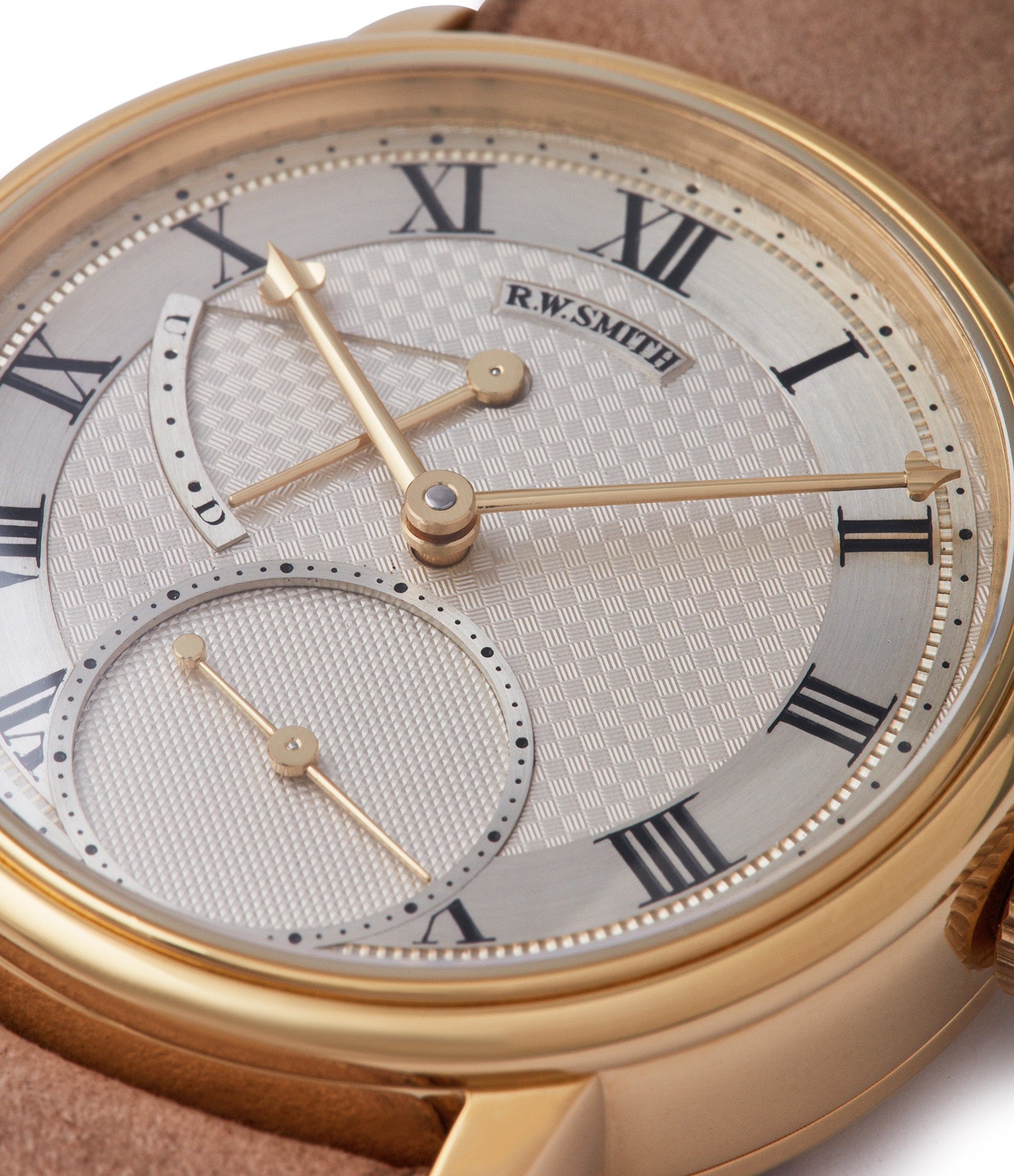 British hand-made watchmaker Roger W. Smith Series 2 yellow gold early pre-owned independent watchmaker for sale online A Collected Man exclusively approved re-seller Roger Smith