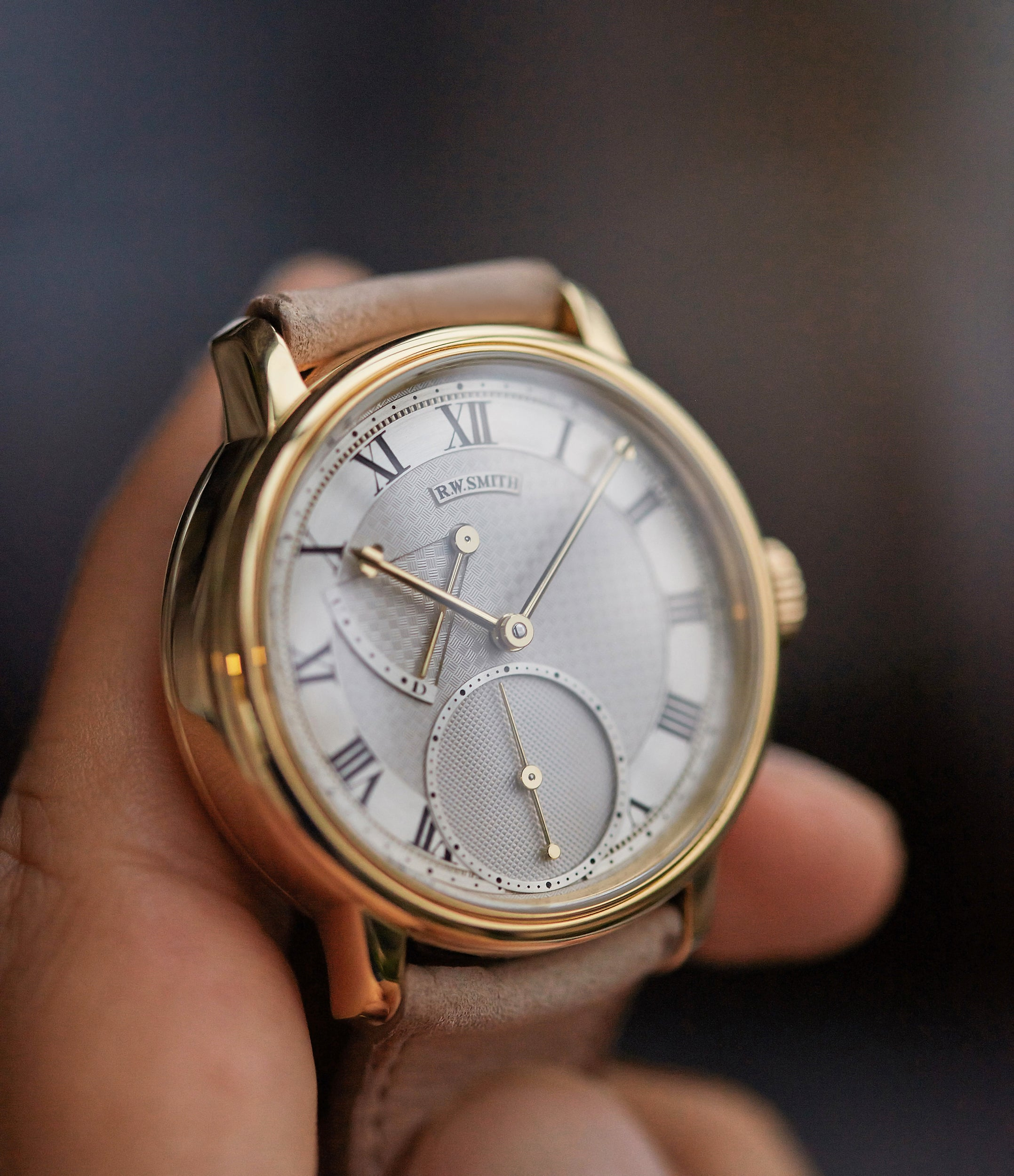 pre-owned Roger W. Smith Series 2 yellow gold early independent watchmaker for sale online A Collected Man exclusively approved re-seller Roger Smith