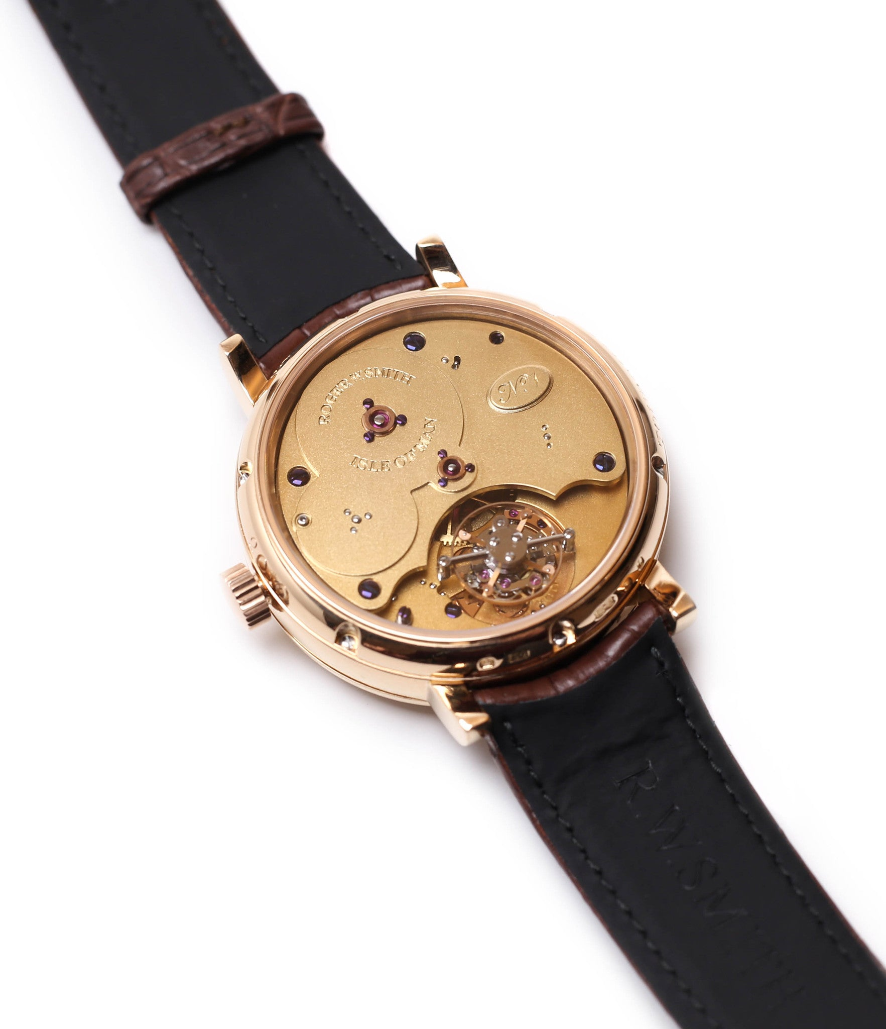 movement buy Roger Smith rare watch Grande Panorama date flying tourbillon No. 1 red gold dress watch at A Collected Man approved reseller of independent watchmakers