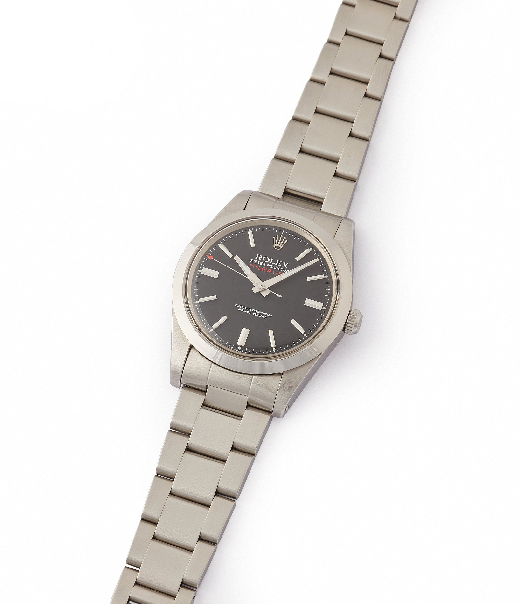 selling vintage Rolex Milgauss 1019 steel antimagnetic tool watch for sale online at A Collected Man London UK specialist rare vintage Rolex watches