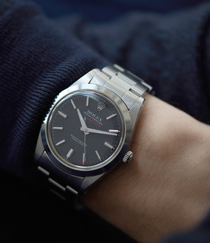 on the wrist vintage Rolex Milgauss 1019 steel antimagnetic tool watch for sale online at A Collected Man London UK specialist rare vintage Rolex watches