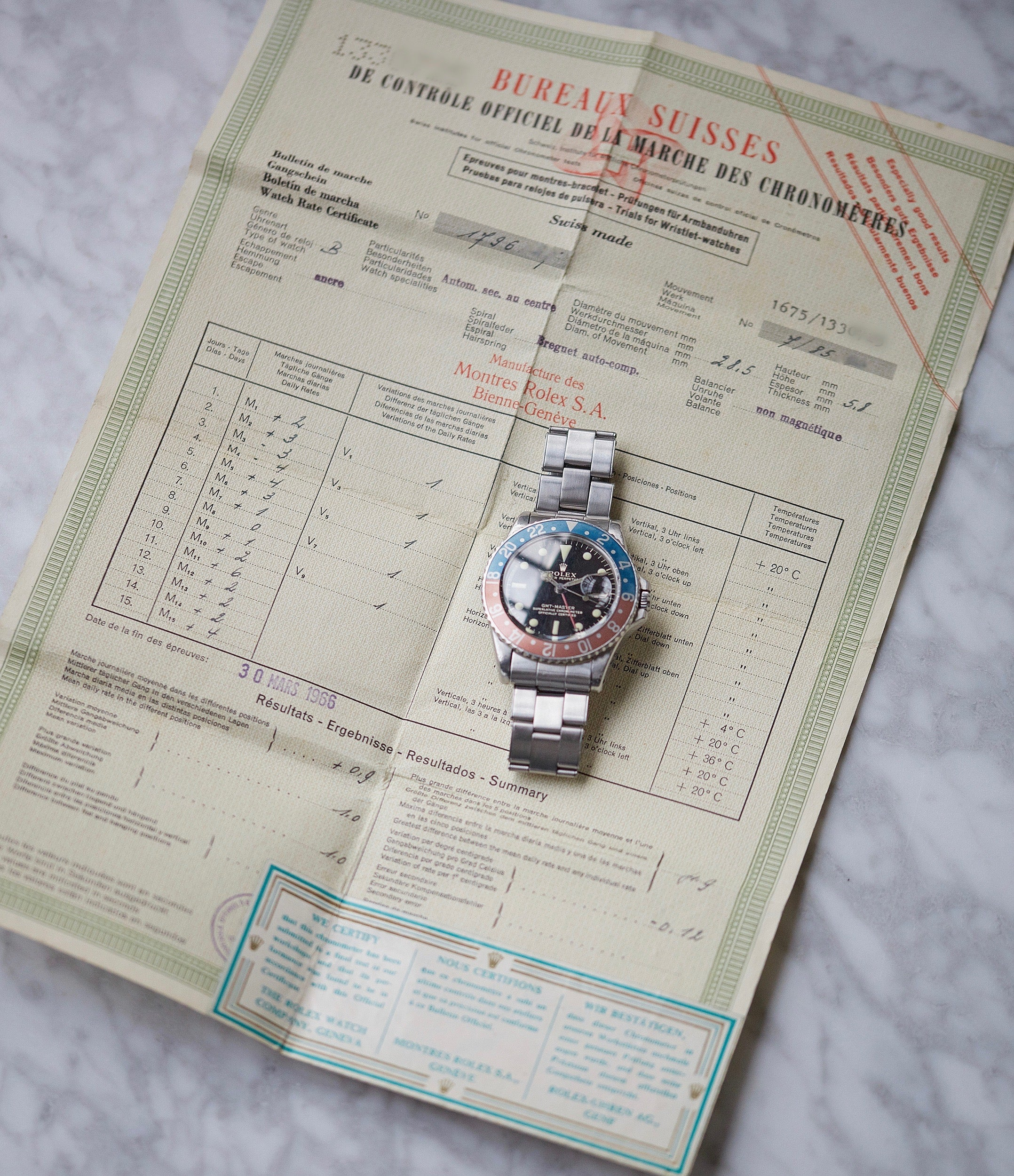 original papers Rolex GMT-Master 1675 Gilt dial full set sports watch for sale online at A Collected Man London UK specialist of rare watches