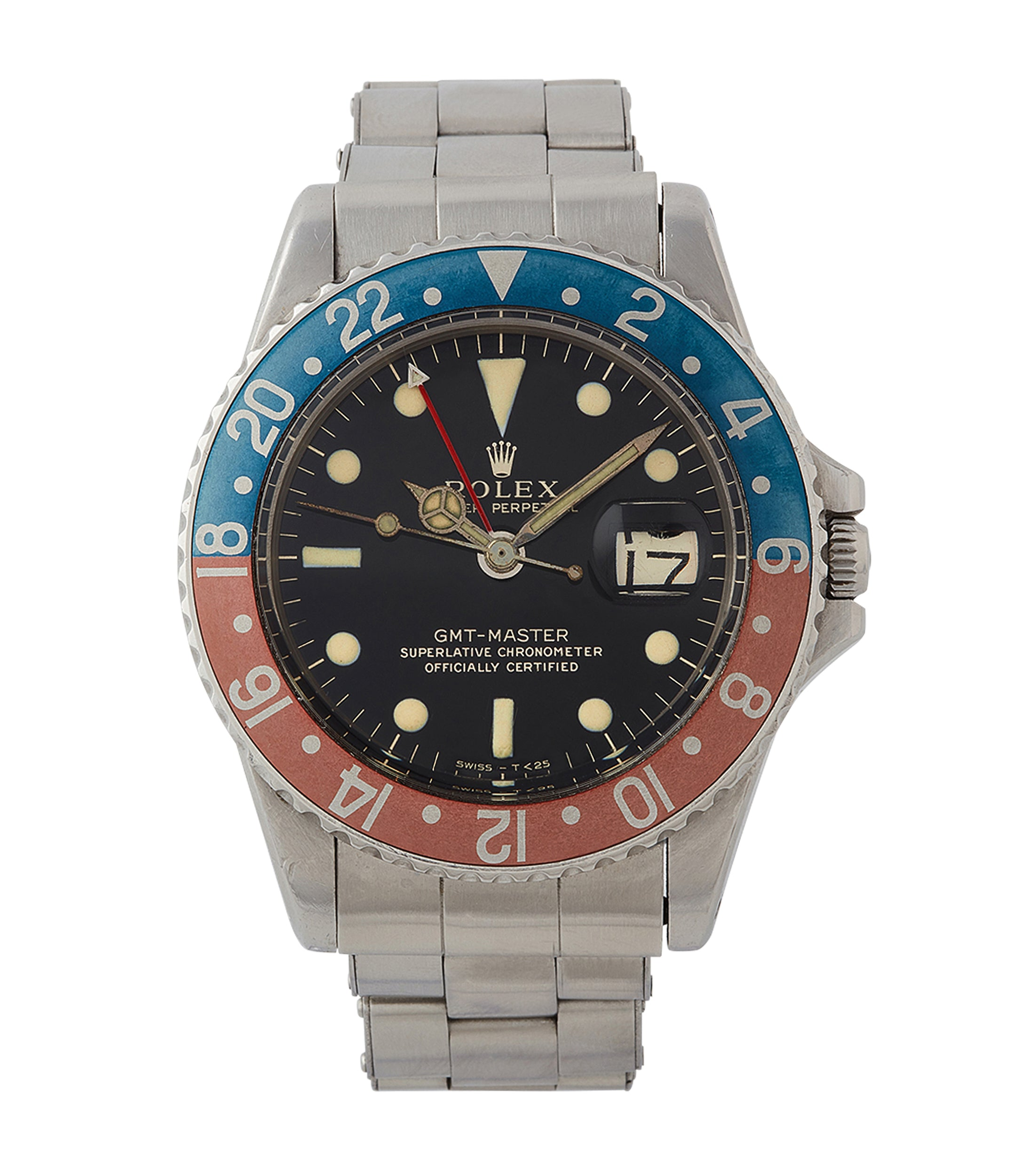 buy vintage Rolex GMT-Master 1675 Gilt dial full set vintage watch for sale online at A Collected Man London UK specialist of rare watches