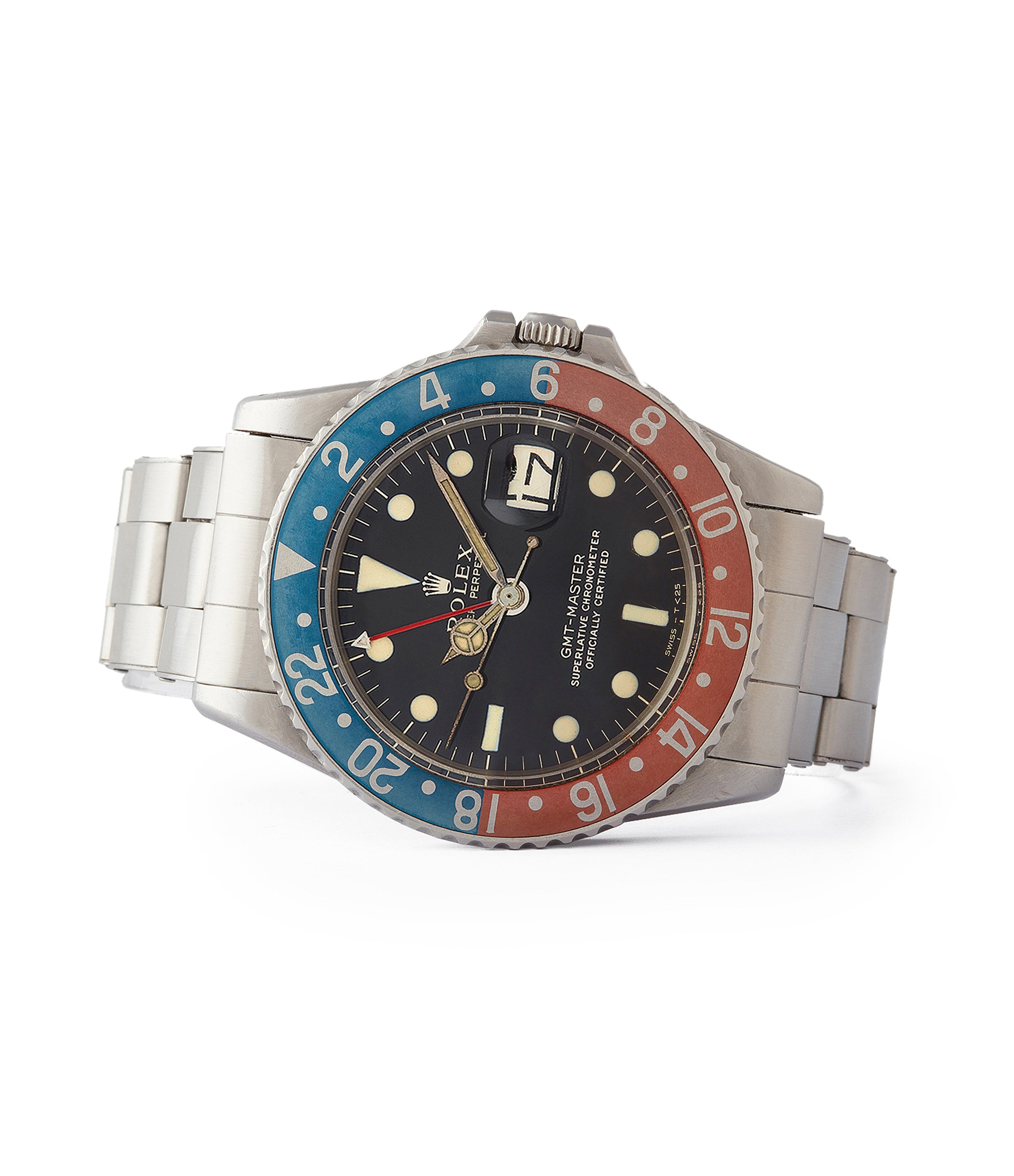 side-shot Rolex GMT-Master Pepsi bezel 1675 Gilt dial full set sports watch for sale online at A Collected Man London UK specialist of rare watches